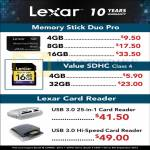 Lexar Memory Stick Pro Duo, Value SDHC, Card Reader
