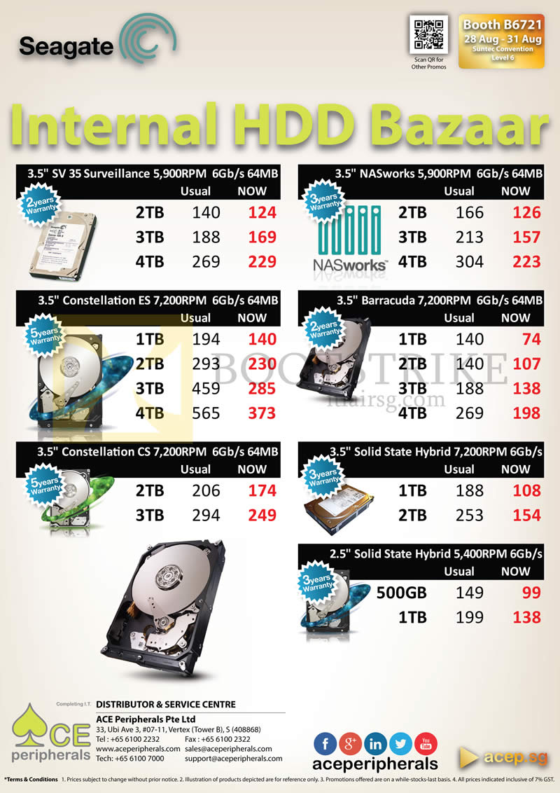COMEX 2014 price list image brochure of ACE Peripherals Internal HDD Seagate Surveillance, Barracuda, NASworks, SSD Constellation, Solid State Hybrid, 500GB, 1TB, 2TB, 3TB, 4TB