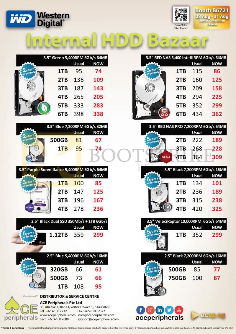 COMEX 2014 price list image brochure of ACE Peripherals Internal HDD Western Digital WD Green, Red, Black, Blue, Purple, VelociRaptor, Dual 500GB, 750GB, 1TB, 1.12TB, 2TB, 3TB, 4TB, 5TB, 6TB
