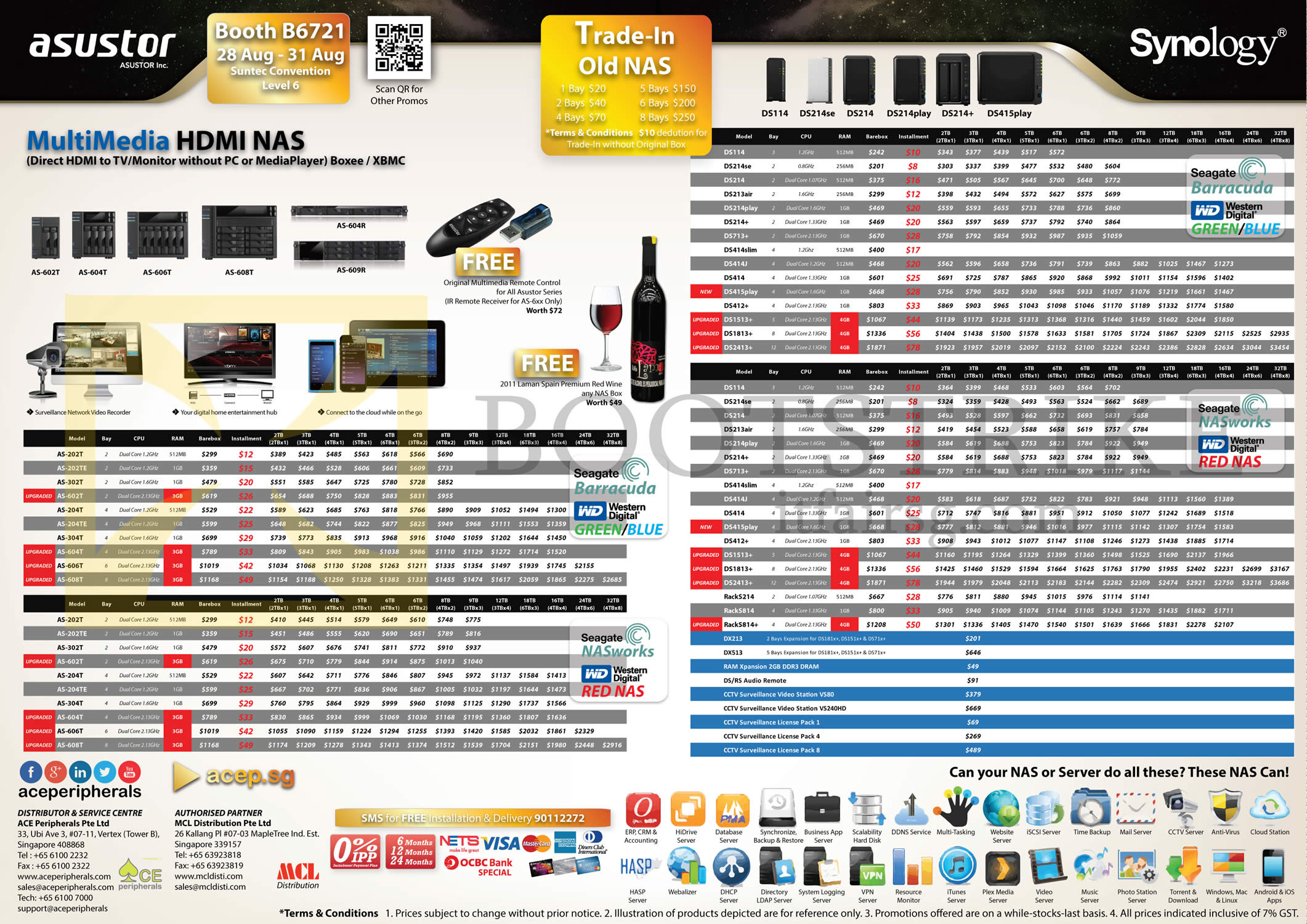 COMEX 2014 price list image brochure of ACE Peripherals NAS Asustor HiTi Nuance Synology DiskStation, Trade-in