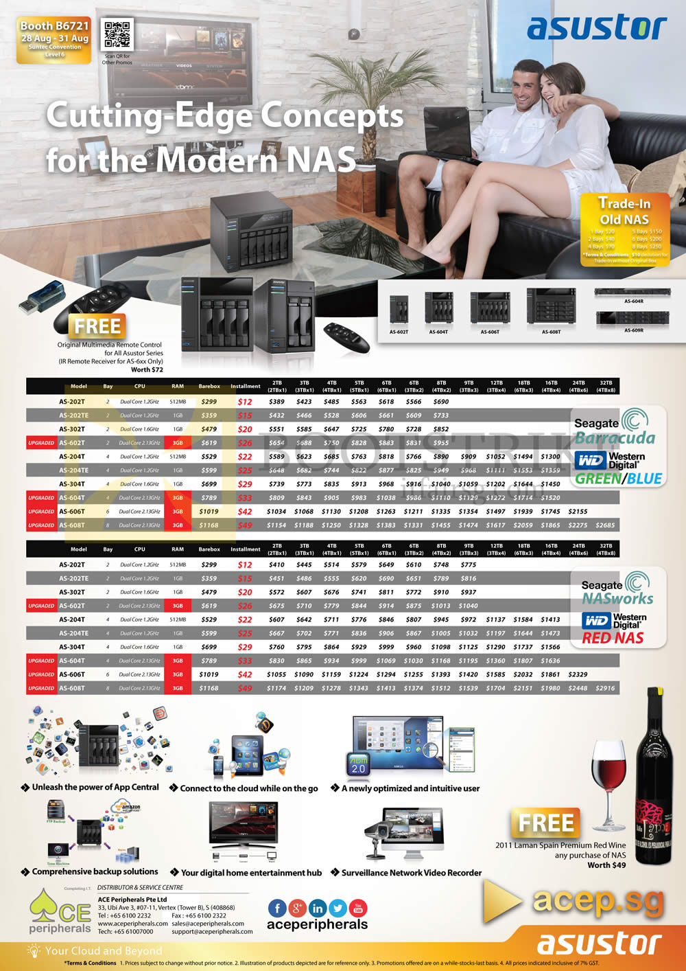 COMEX 2014 price list image brochure of ACE Peripherals NAS Asustor Trade-in AS 202T, AS 202TE, AS 204T, AS 204TE, AS 302T, AS 304T, AS 602T, AS 604T, AS 606T, AS 608T, AS 604RS, AS 609RS