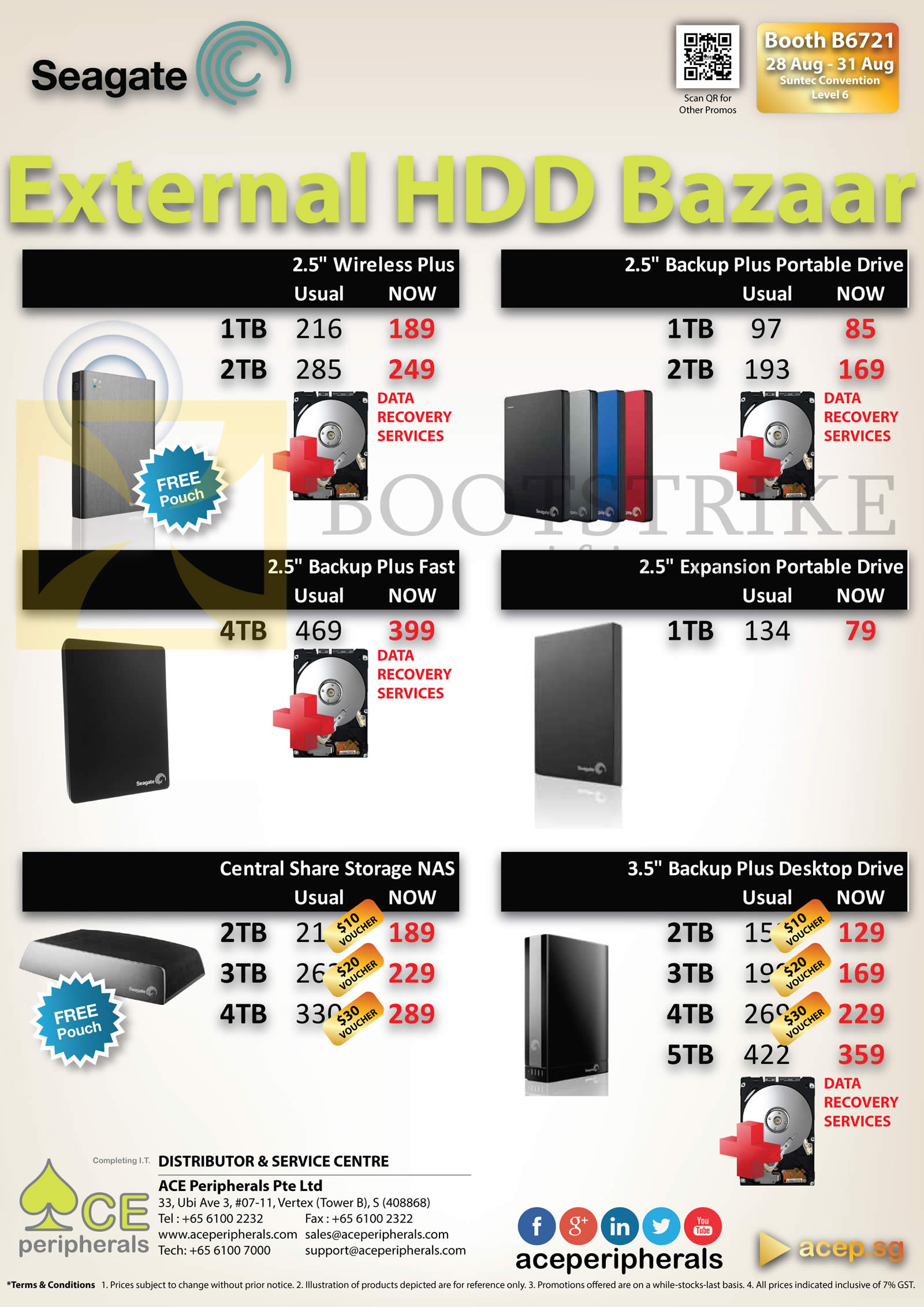 COMEX 2014 price list image brochure of ACE Peripherals Seagate External Storage Backup Plus Fast, Portable Expansion, NAS Central Share Storage 1TB, 2TB, 3TB, 4TB
