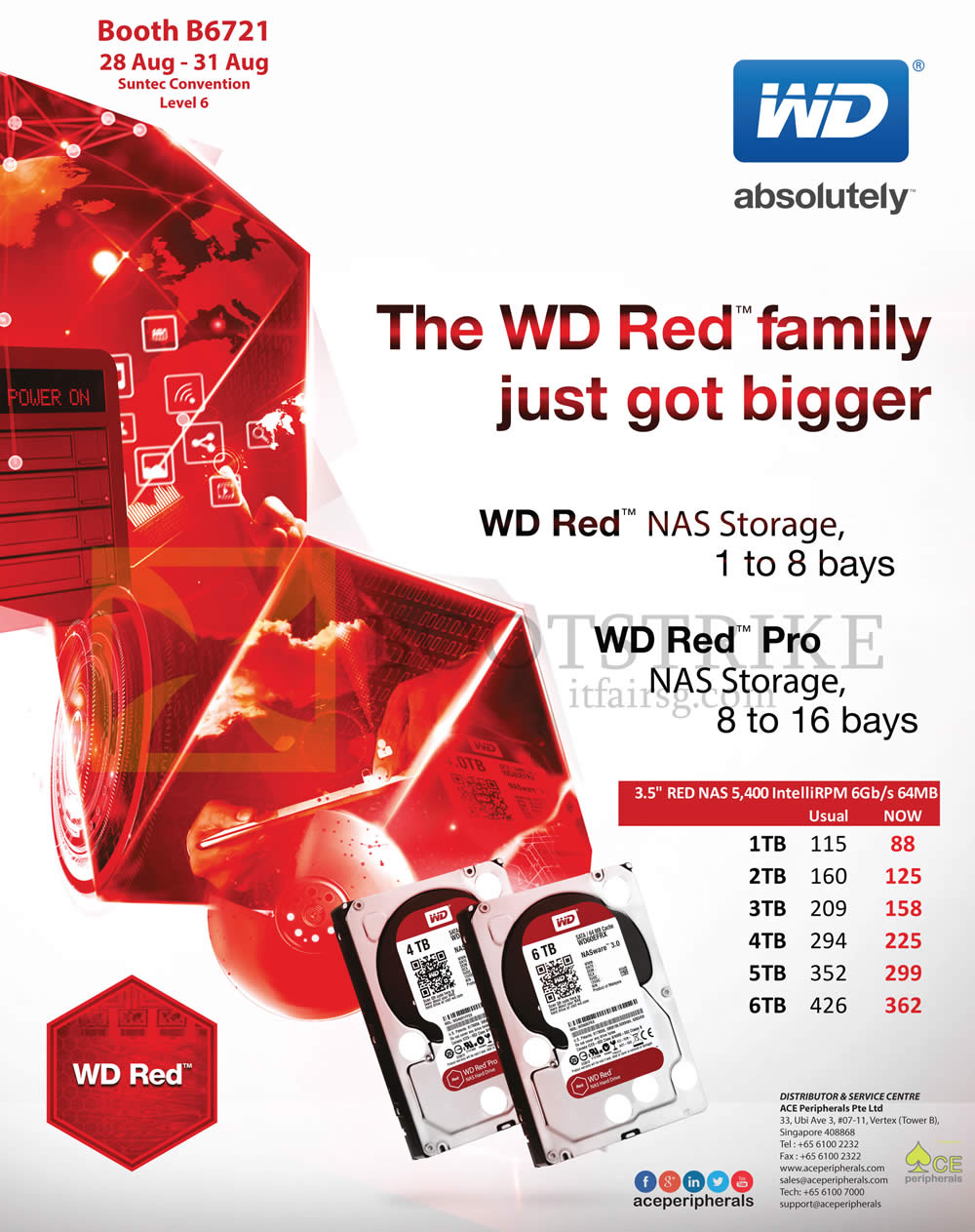 COMEX 2014 price list image brochure of ACE Peripherals Western Digital Red Pro Hard Disk 1TB 2TB 3TB 4TB 5TB 6TB
