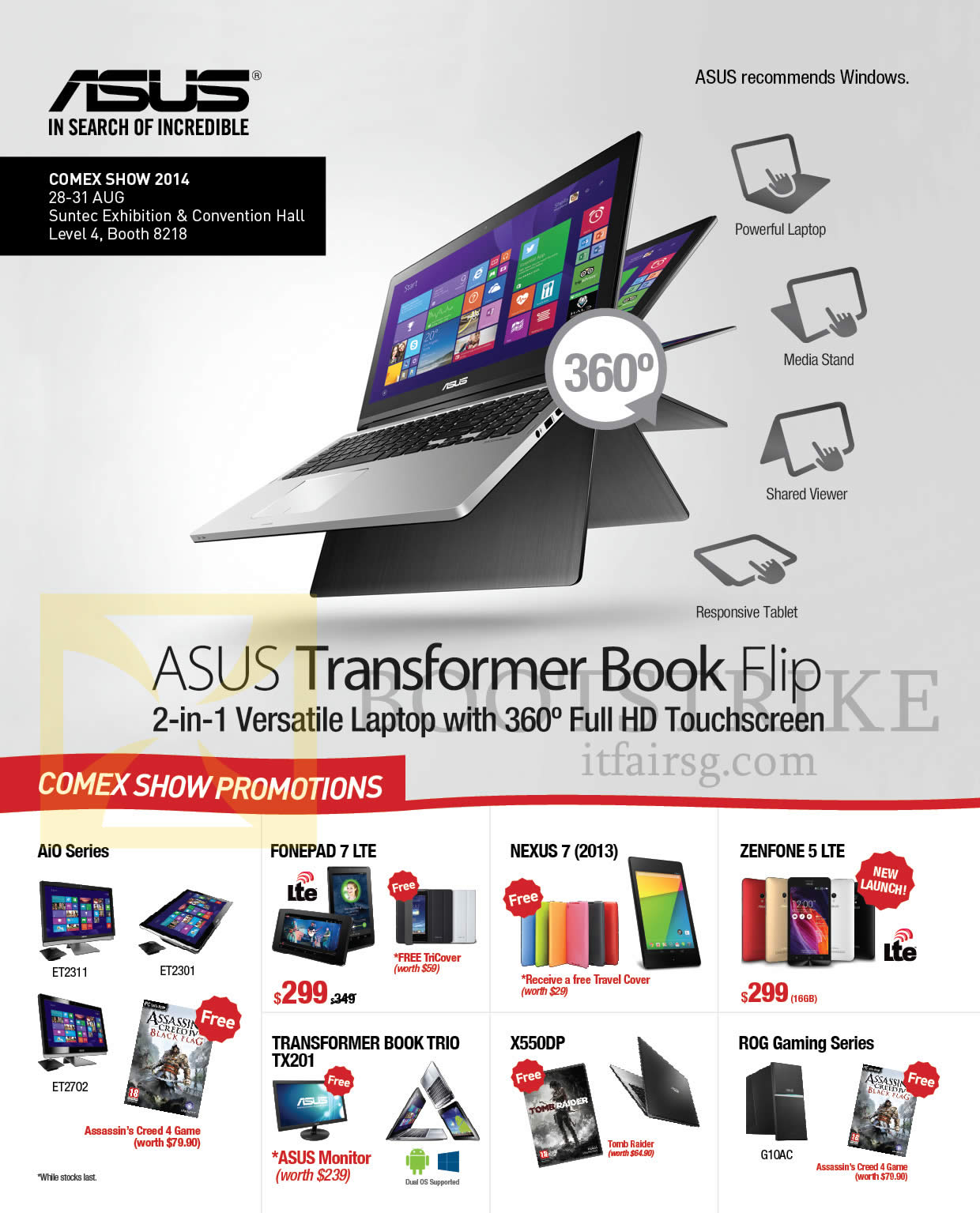 COMEX 2014 price list image brochure of ASUS Comex Show Promotions AIO Series, Fonepad 7, Transformer Book, Nexus 7, Zenfone 5, ROG Gaming Series