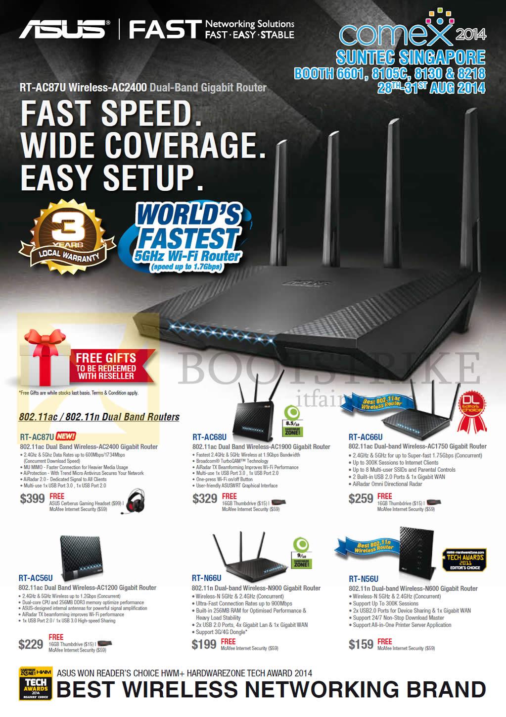 COMEX 2014 price list image brochure of ASUS Networking Dual Band Routers RT-AC87u, AC68U, AC66U, AC56U, N66U, N56U