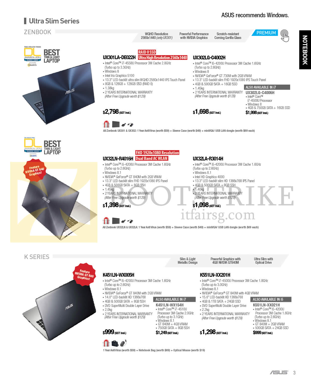 COMEX 2014 price list image brochure of ASUS Notebooks Zenbook Ultra Slim Series UX301LA-DE022H, UX302LG-C4002H, C4006H, UX32LA-R3014H, UX32LN-R4016H, K451LN-WX005H, WX154H, K Series K551LN-XX201H, XX021H