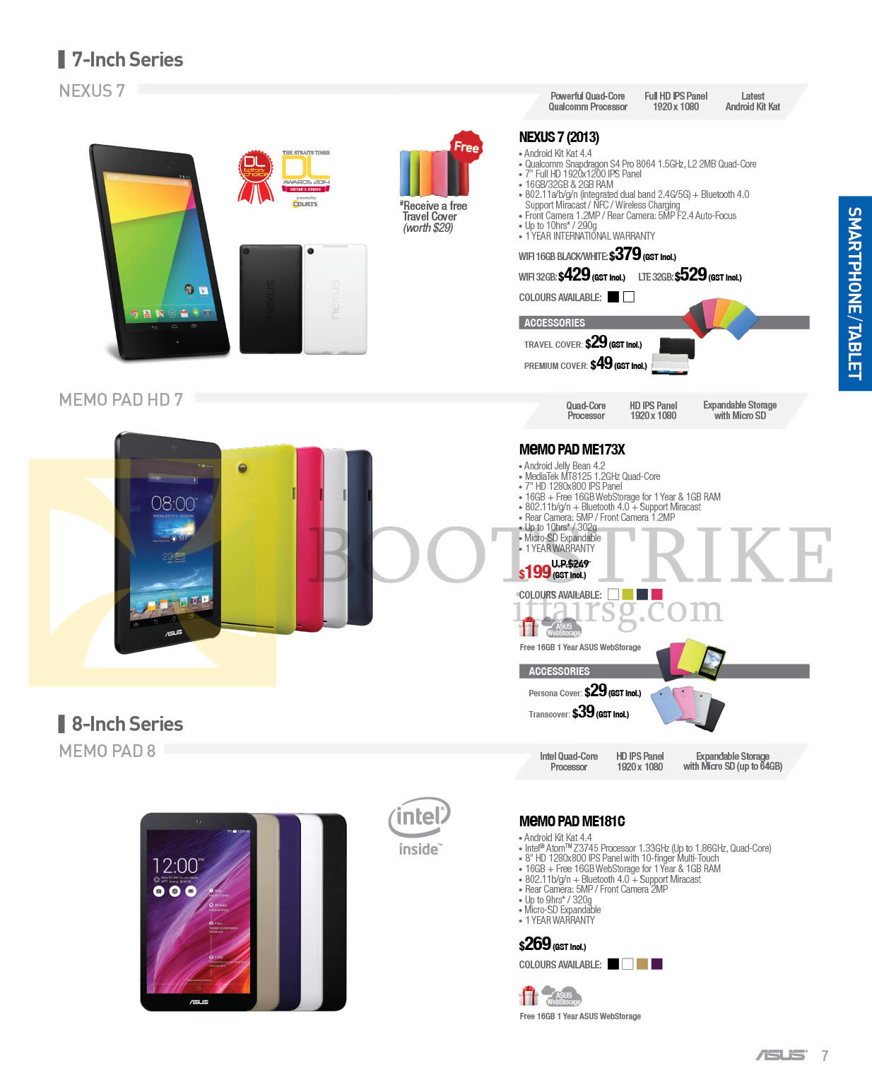 COMEX 2014 price list image brochure of ASUS Tablets Nexus 7 2013, Memo Pad ME173X, ME181C, Memopad HD 8