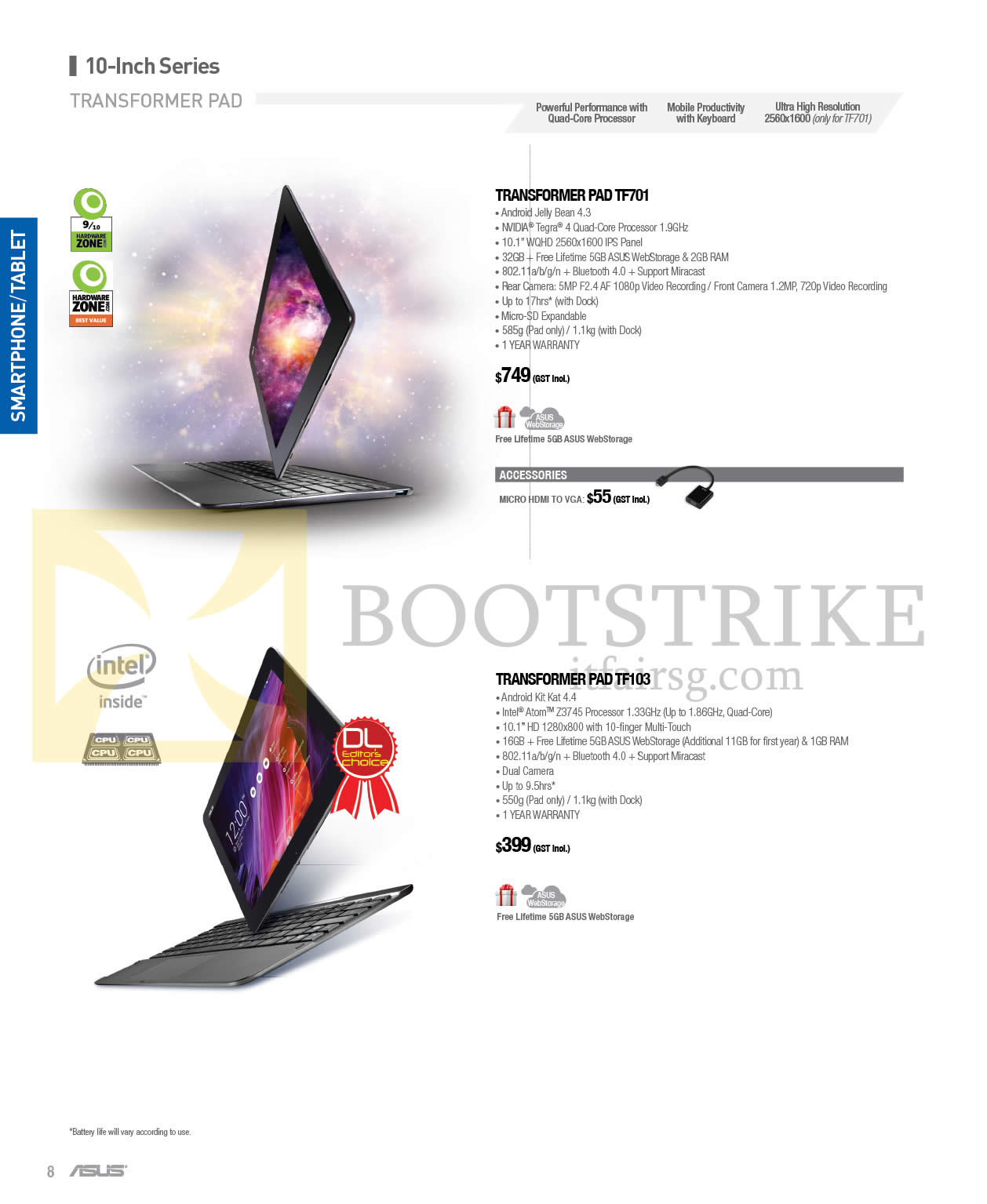 COMEX 2014 price list image brochure of ASUS Transformer Pad TF701, Transformer Pad TF103