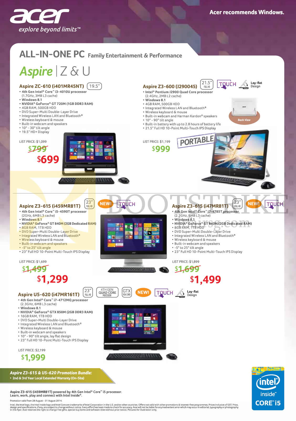 COMEX 2014 price list image brochure of Acer AIO Desktop PCs Aspire ZC-610, Z3-600, Z3-615, U5-620