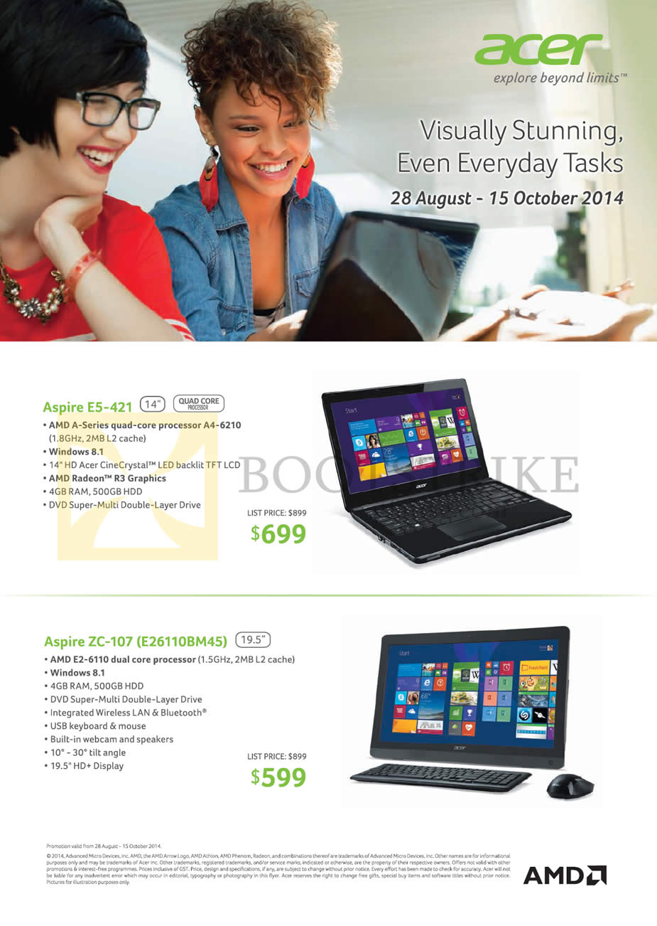 COMEX 2014 price list image brochure of Acer Notebooks AMD Aspire E5-421, ZC-107