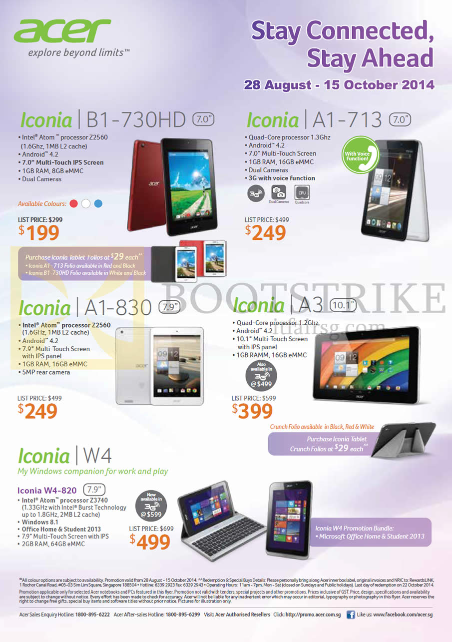 COMEX 2014 price list image brochure of Acer Tablets Iconia B1-730HD, A1-713, A1-830, A3, W4
