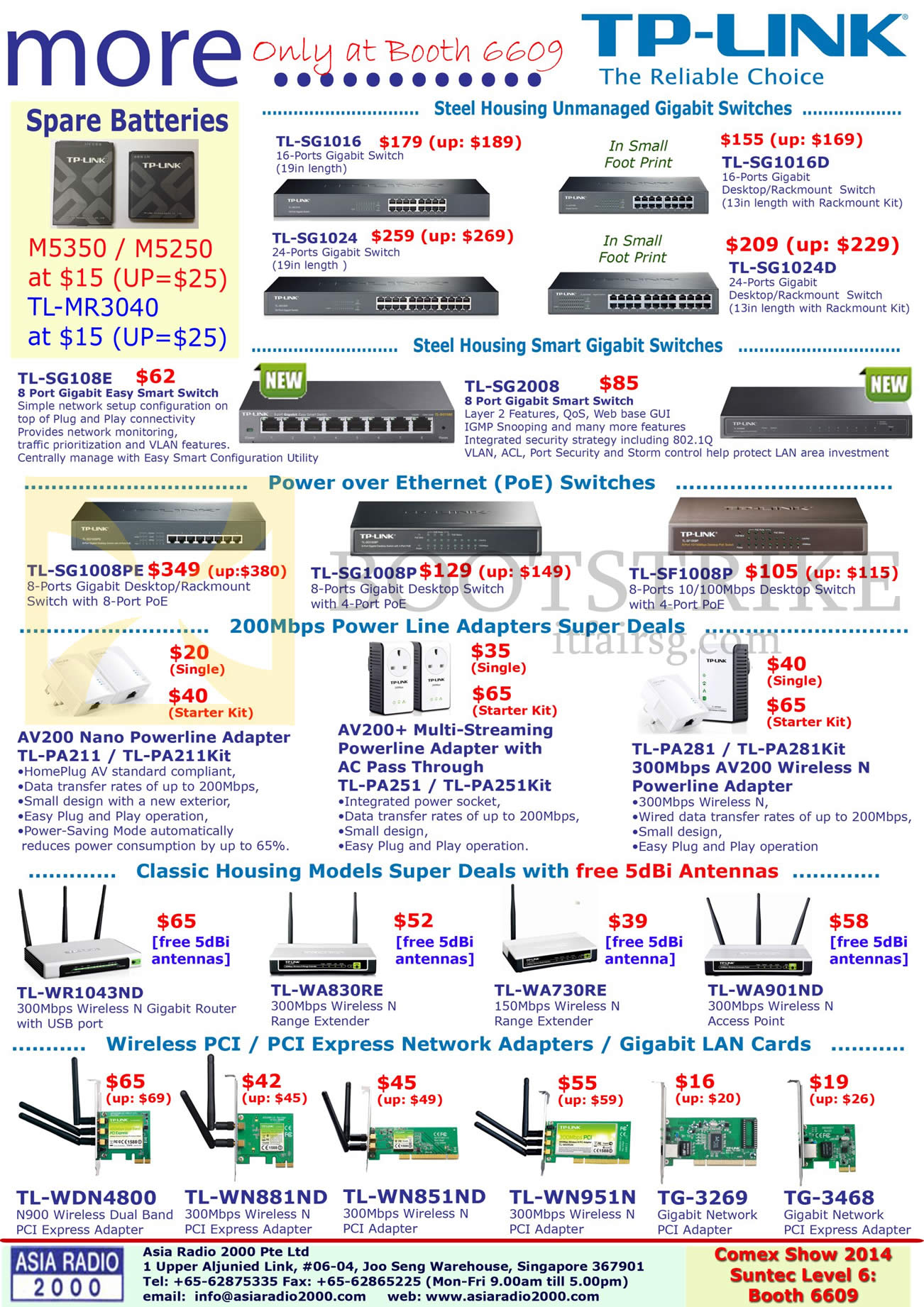 COMEX 2014 price list image brochure of Asia Radio TP-Link Networking Switches, Powerline, Range Extenders, Network Adapters, Batteries, Wireless LAN Cards PCI Express