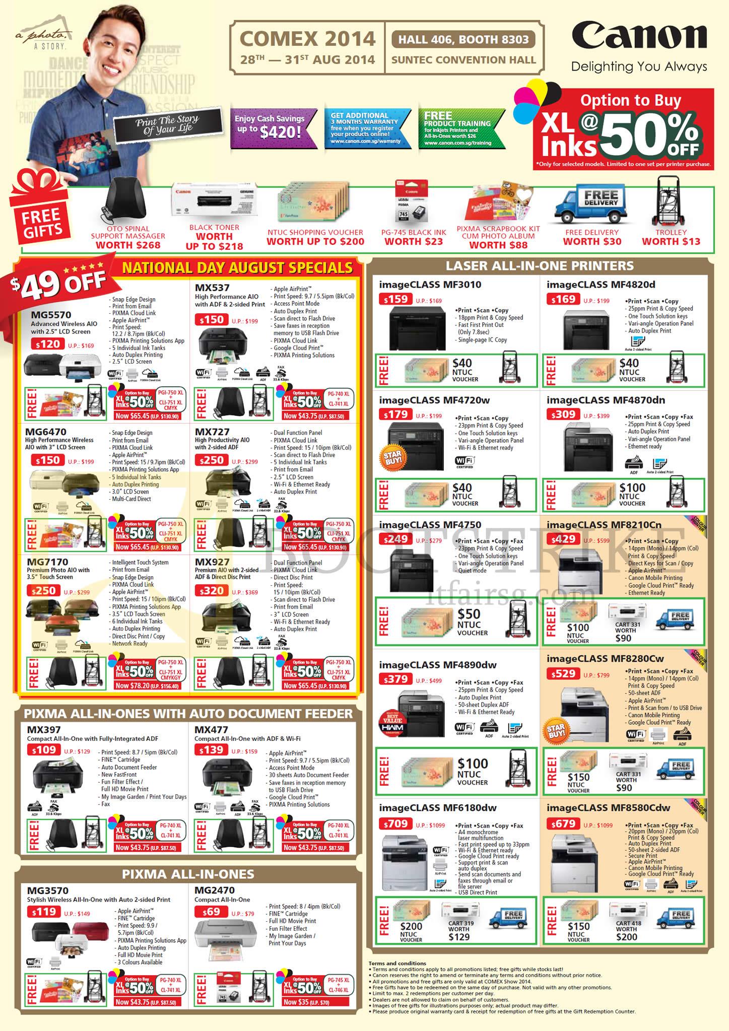 COMEX 2014 price list image brochure of Canon Printers Inkjet Pixma, Laser, MG5570, MX537, MG7170, MX927, MX477, MG3570, ImageClass MF3010, MF4820d, MF8210cn, MF4890dw, MF8580dw