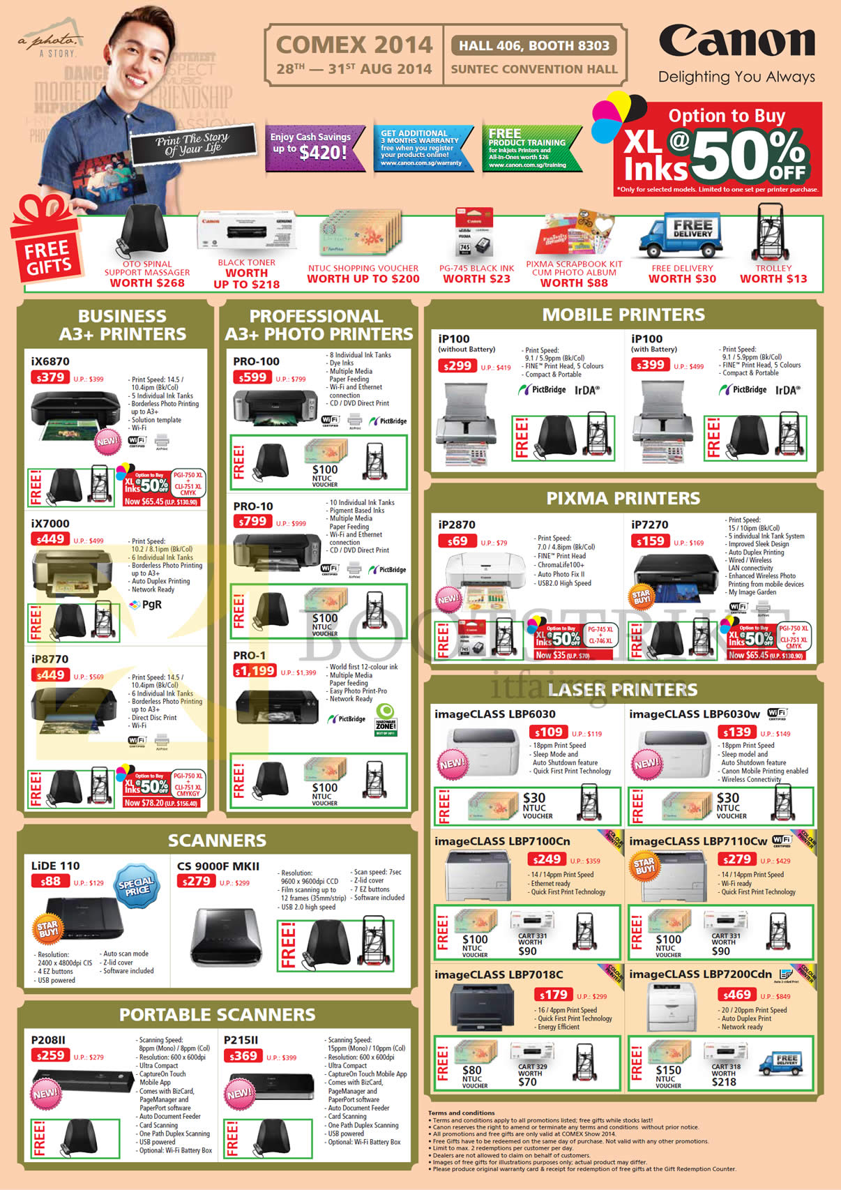 COMEX 2014 price list image brochure of Canon Printers, Scanners, Photo Printers, Laser, Mobile, Pixma, IX6870, IX7000, Pro-100, Pro-10, Pro-1, Lide 110, CS9000F MK II, P215II, IP100, IP2870, IP7270