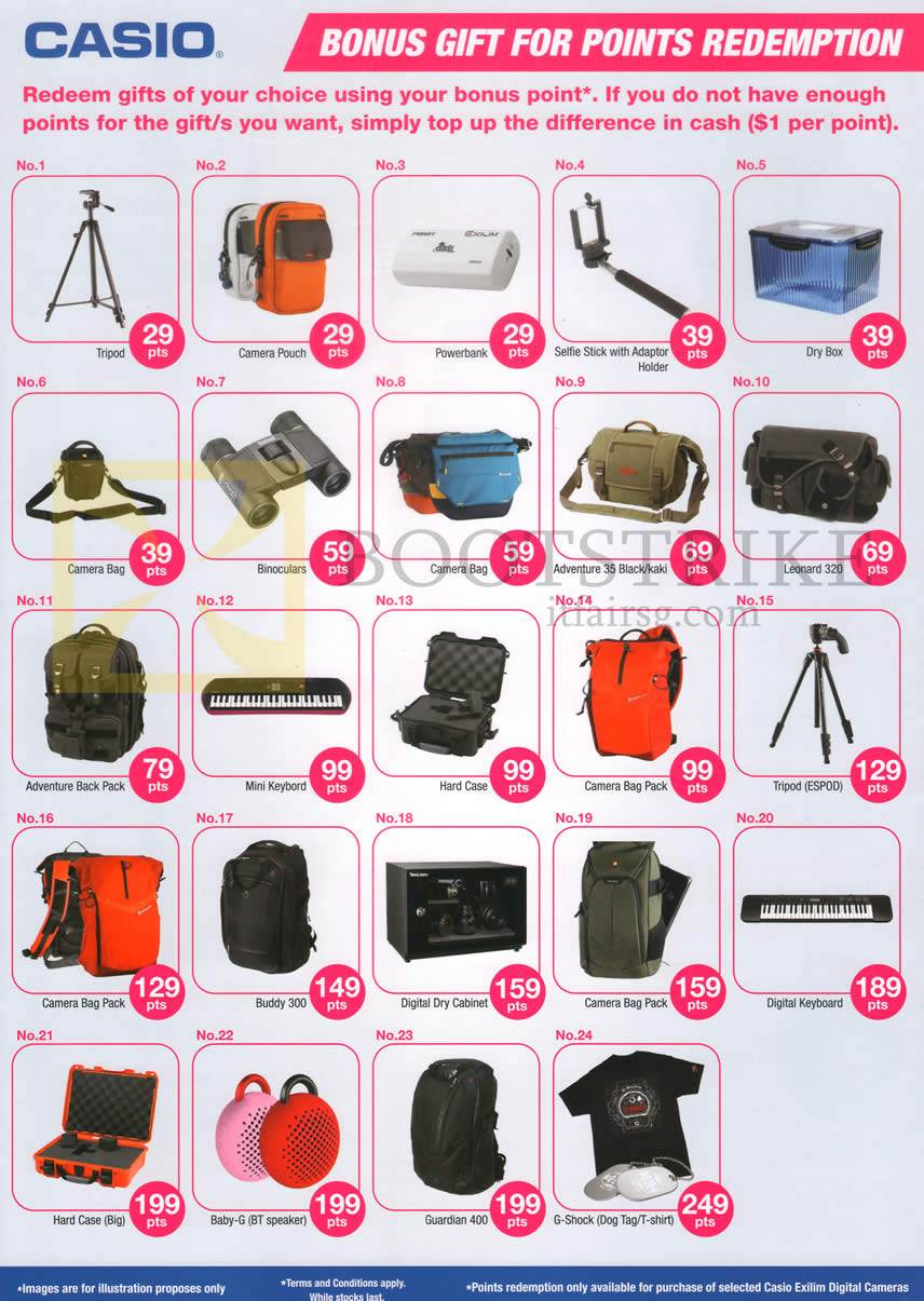 COMEX 2014 price list image brochure of Casio Bonus Gift For Points Redemption