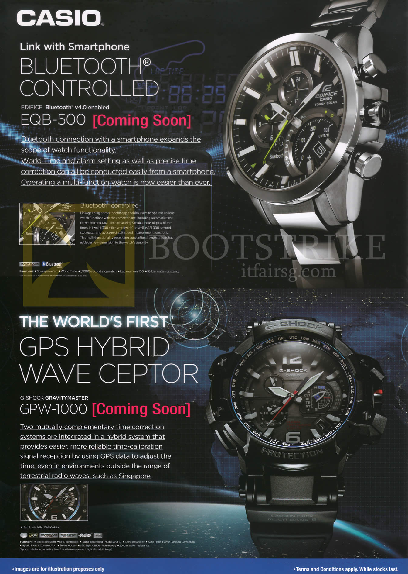 COMEX 2014 price list image brochure of Casio Wrist Watches Edifice EQB-500, G-Shock Gravitymaster GPW-1000