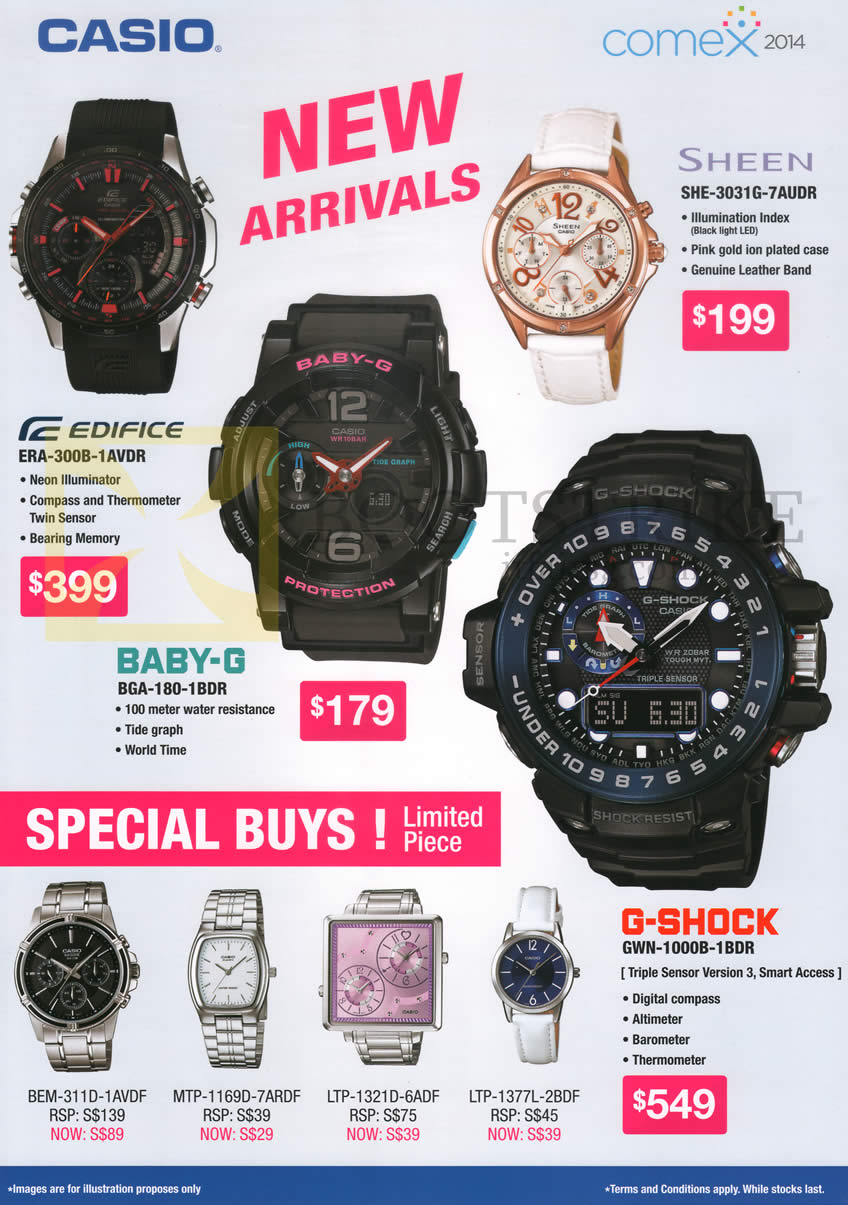 COMEX 2014 price list image brochure of Casio Wrist Watches Sheen. Edifice, Baby-G, G-Shock
