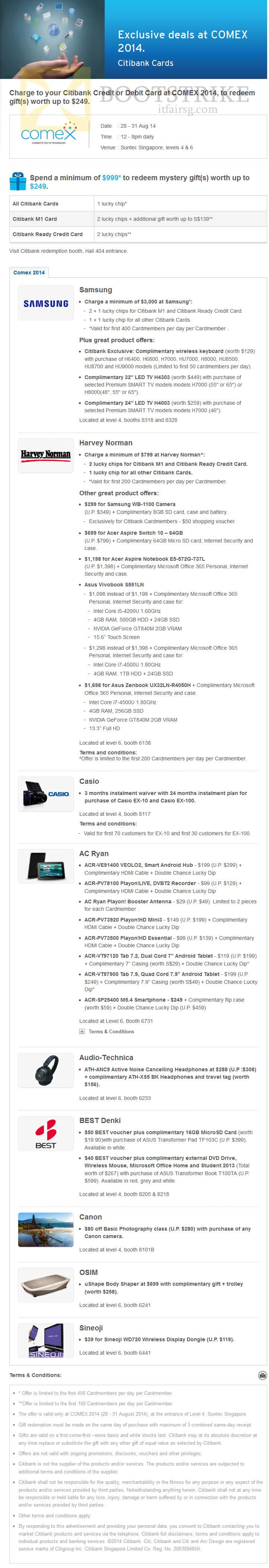 COMEX 2014 price list image brochure of Citibank Spend N Redeem, Retailer Offers Harvey Norman, Casio, AC Ryan, Canon, Sineoji, Osim