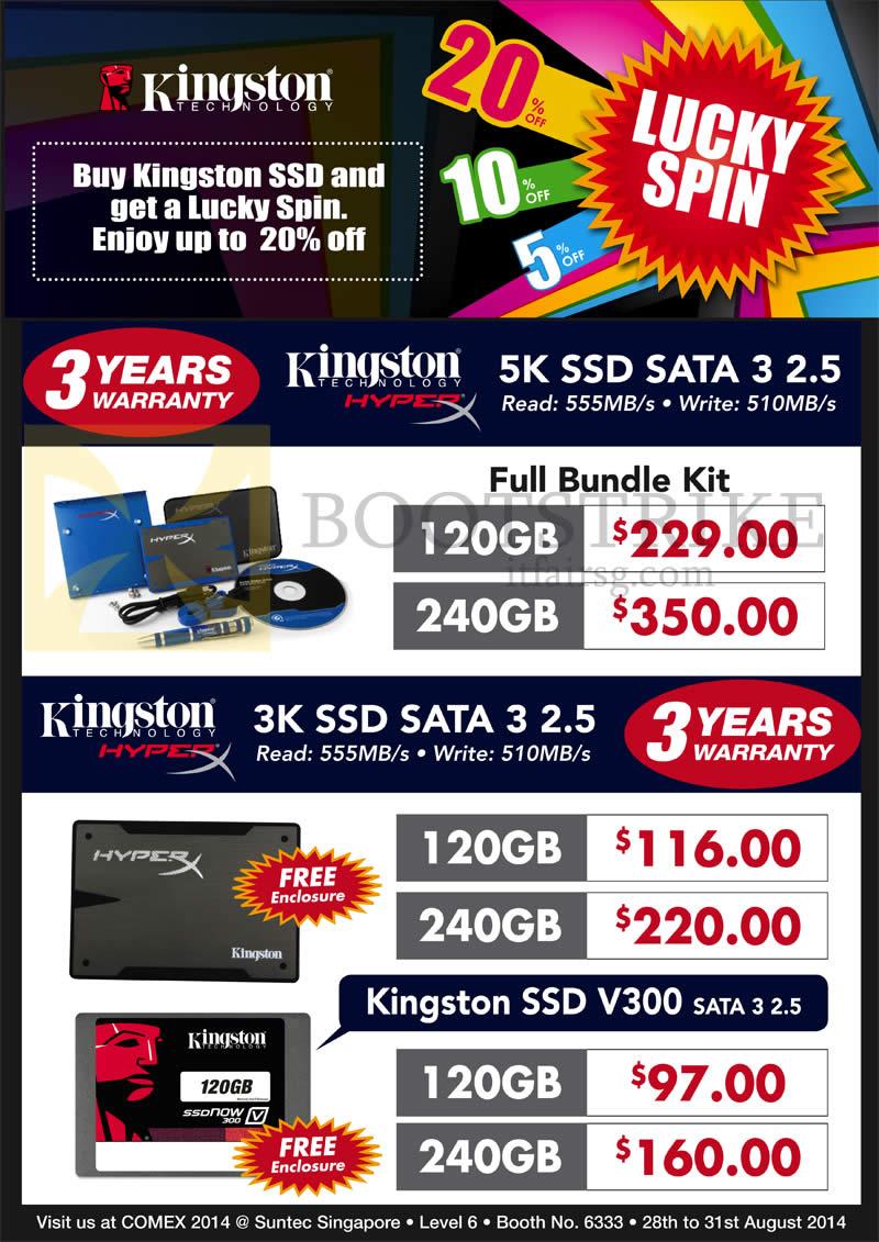 COMEX 2014 price list image brochure of Convergent Kingston 5K SSD Sata 3, V300, 3K, 120GB 240GB