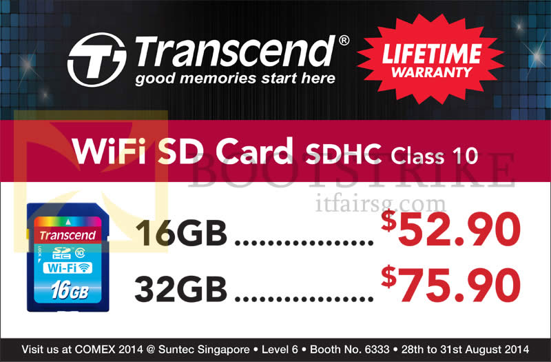 COMEX 2014 price list image brochure of Convergent Transcend WiFi SD Card SDHC Class 10