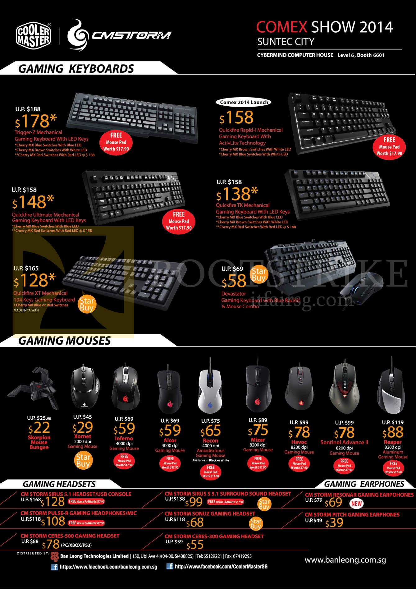 COMEX 2014 price list image brochure of Cybermind Cooler Master CMStorm Keyboards, Mouse, Gaming Headsets, Earphones, Quickfire XT Mechanical, Devastator, Xornet, Alcor, Mizar, Reaper, Sirus, Pulse-R, Resonar, Pitch