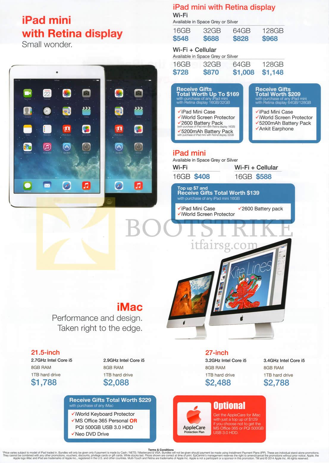 COMEX 2014 price list image brochure of EpiCentre Apple IPad Mini With Retina Display, Apple IPad Mini, Apple IMac AIO Desktop PC