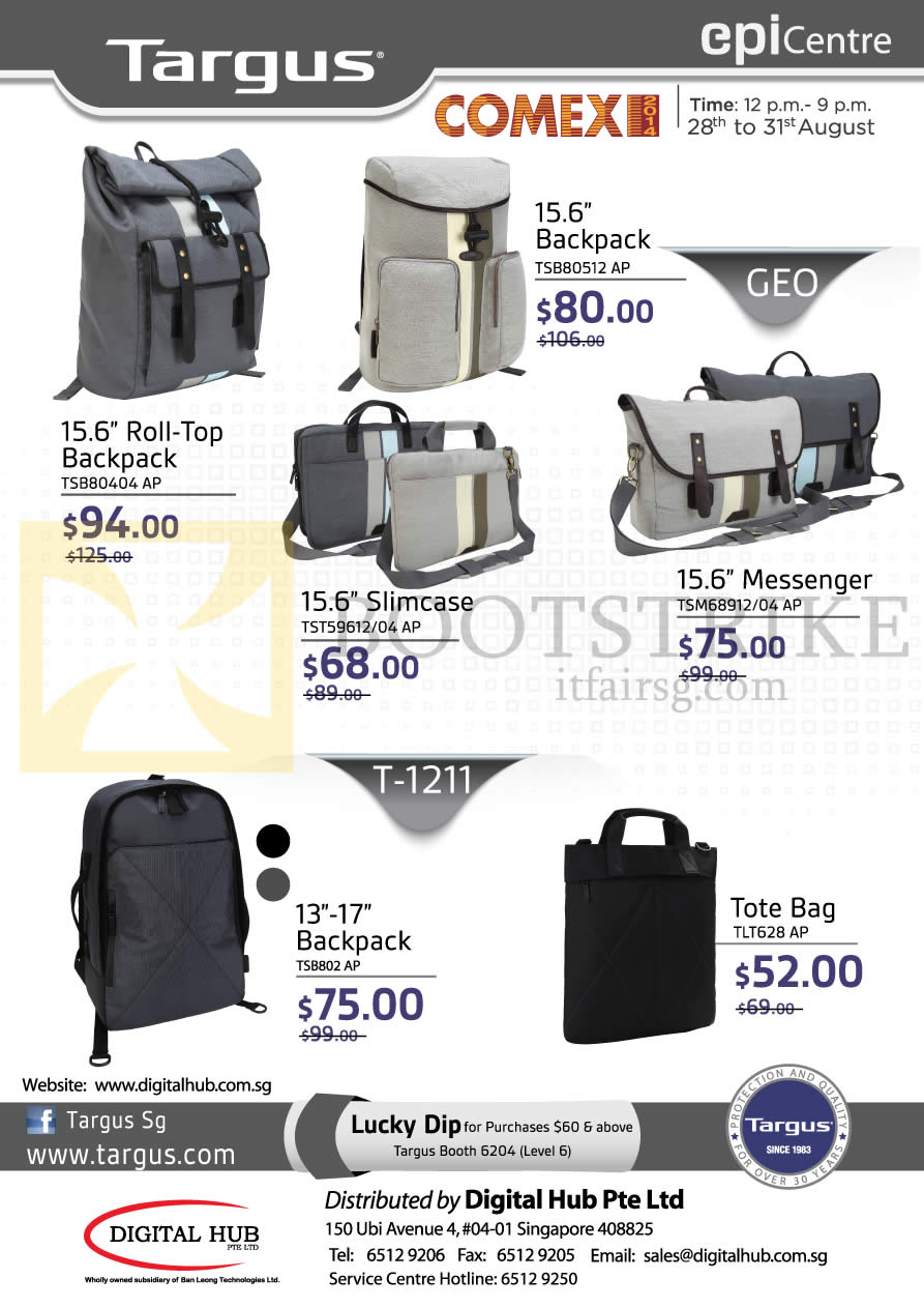 COMEX 2014 price list image brochure of EpiCentre Targus Backpack, Slimcase, Messenger, Tote Bags
