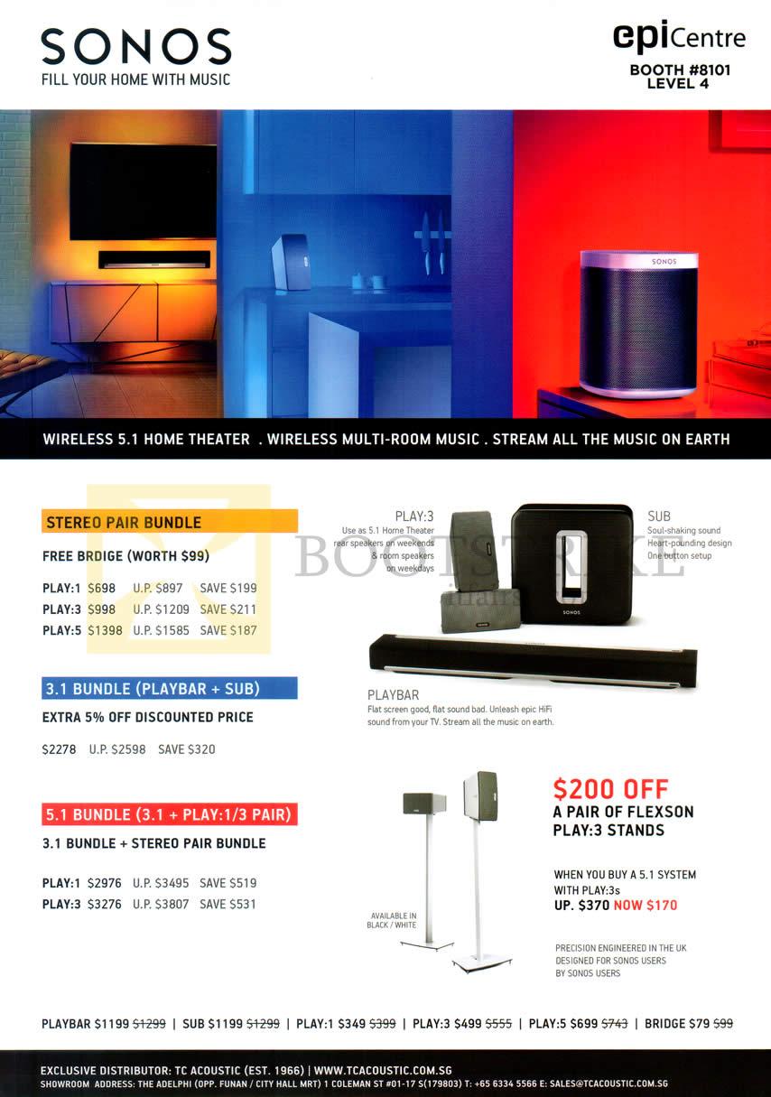 COMEX 2014 price list image brochure of Epicentre Sonos Wireless Home Theatre, Play-3, Sub, Playbar, Stereo Pair Bundle, 3.1 Bundle, 5.1 Bundle, Flexon