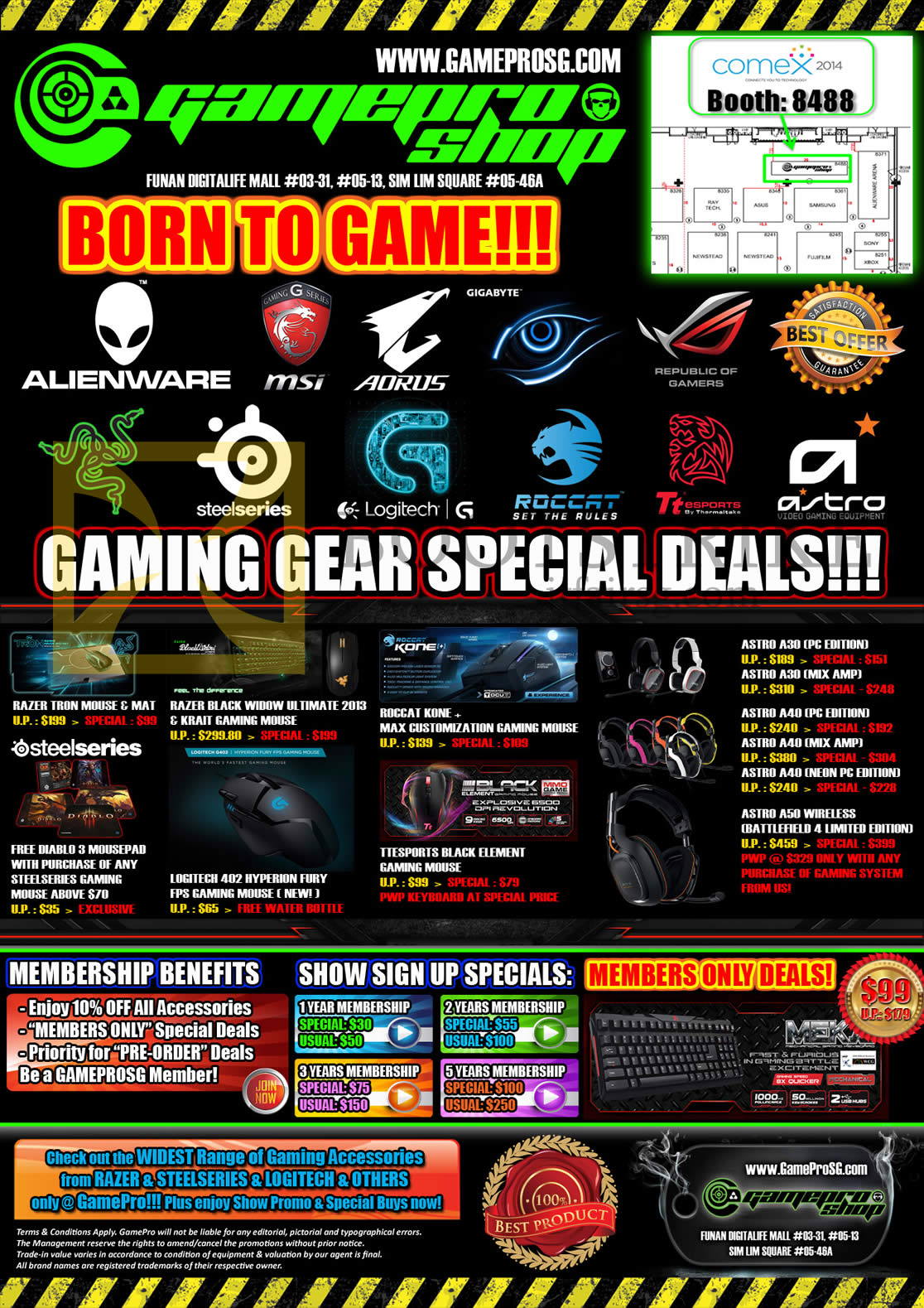 COMEX 2014 price list image brochure of Gamepro Gaming Accessories Razer, Steelseries, Roccat, Astro, Headset, Keyboard, Mouse