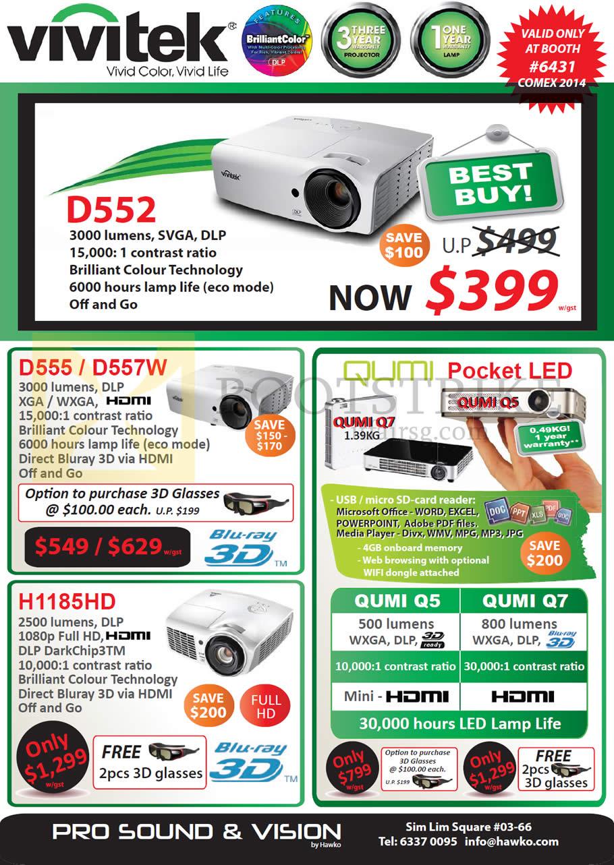 COMEX 2014 price list image brochure of Hawko Vivitek Projectors D552, D555, D557W, H1185HD, Qumi Pocket LED, Qumi Q5, Q7