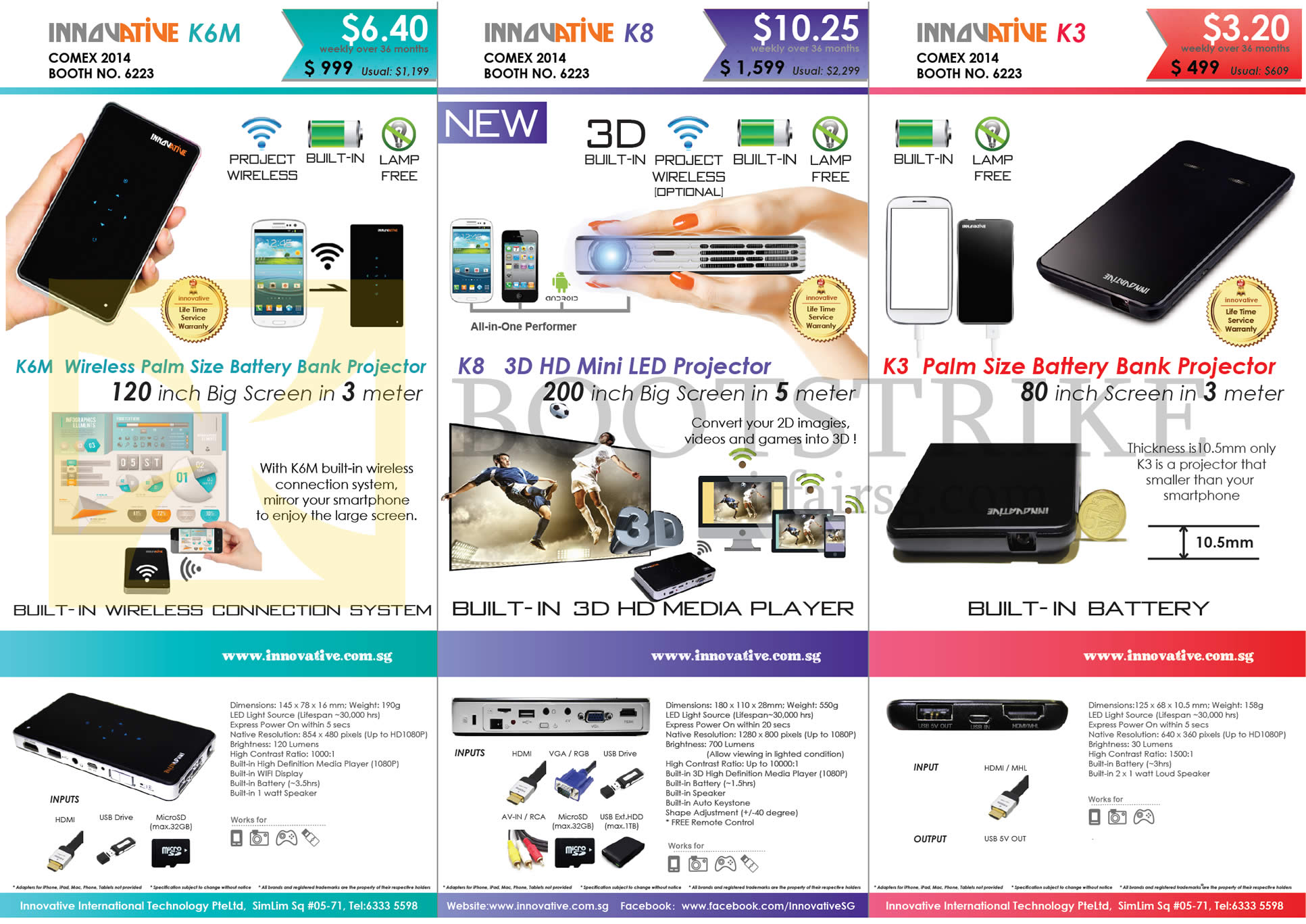 COMEX 2014 price list image brochure of Innovative K6M, K8, K3 Battery Bank Projector