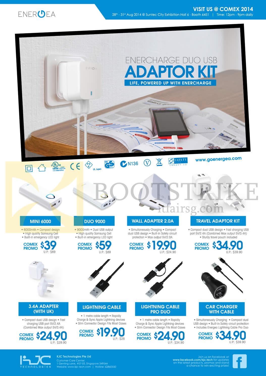 COMEX 2014 price list image brochure of KJC Technologies Adapter Kits Mini 6000, Duo 9000, Wall Adapter 2.0A, Travel Adaptor Kit, 3.4A Adapter, Lightening Cable, Pro Duo, Car Charger