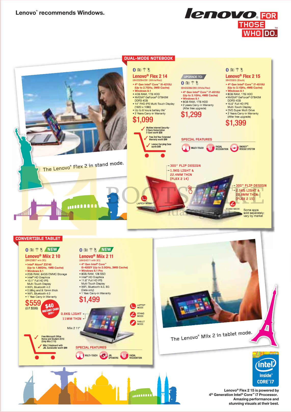 COMEX 2014 price list image brochure of Lenovo Notebooks Flex 2 14, Flex 2 15, Miix 2 10, Miix 2 11
