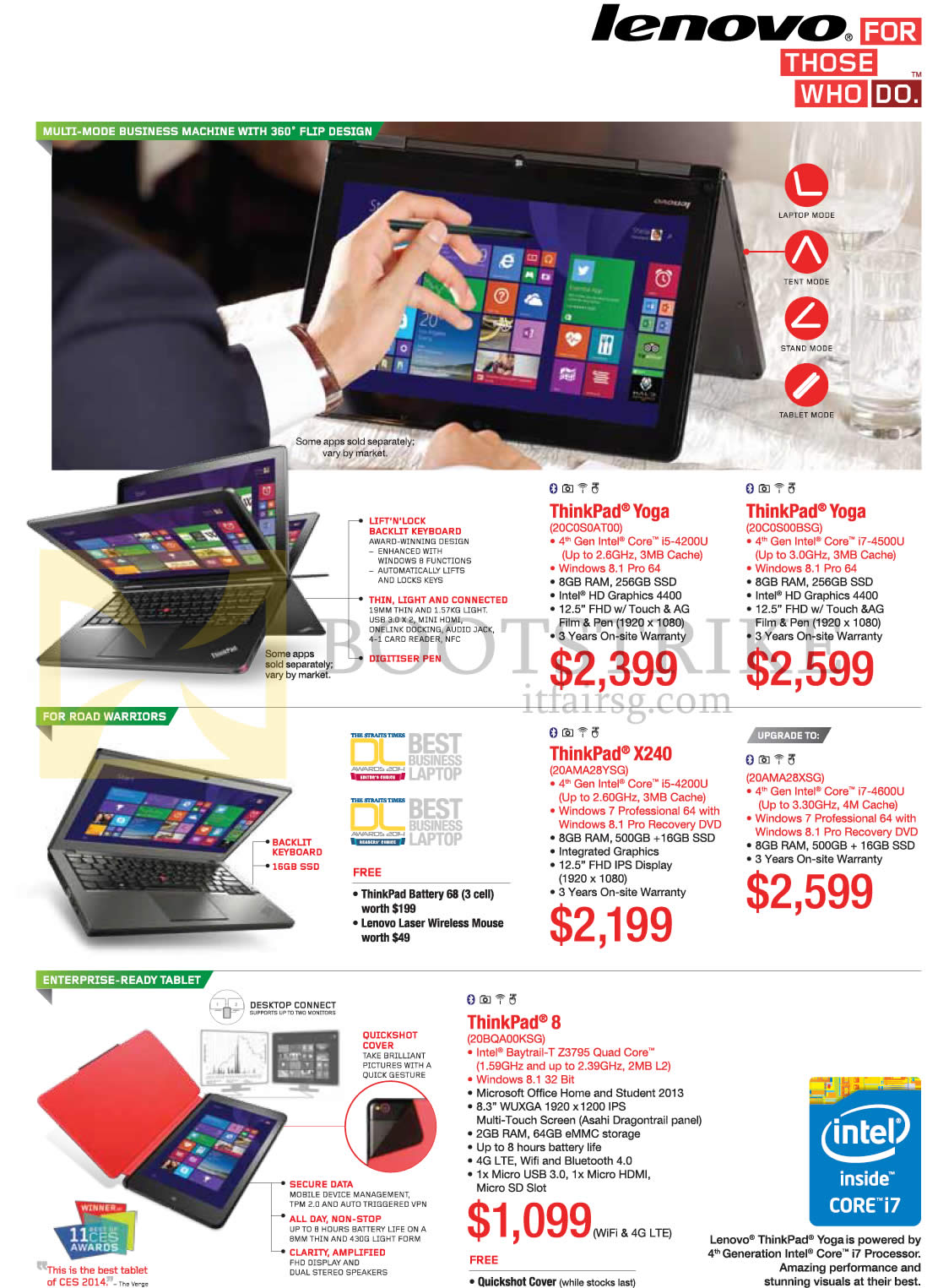 COMEX 2014 price list image brochure of Lenovo Notebooks Tablets ThinkPad Yoga, ThinkPad X240, ThinkPad 8