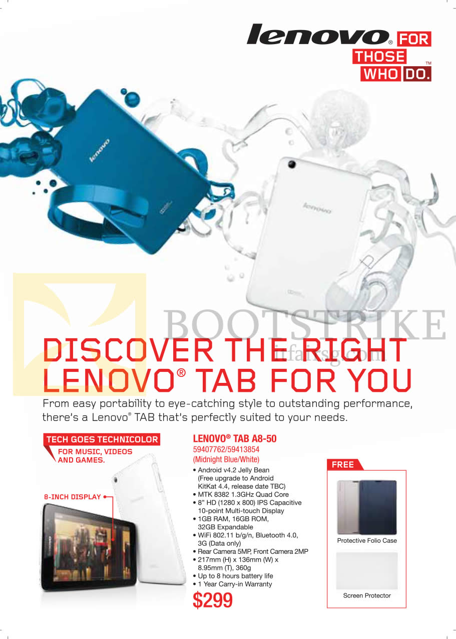COMEX 2014 price list image brochure of Lenovo Tablet A8-50