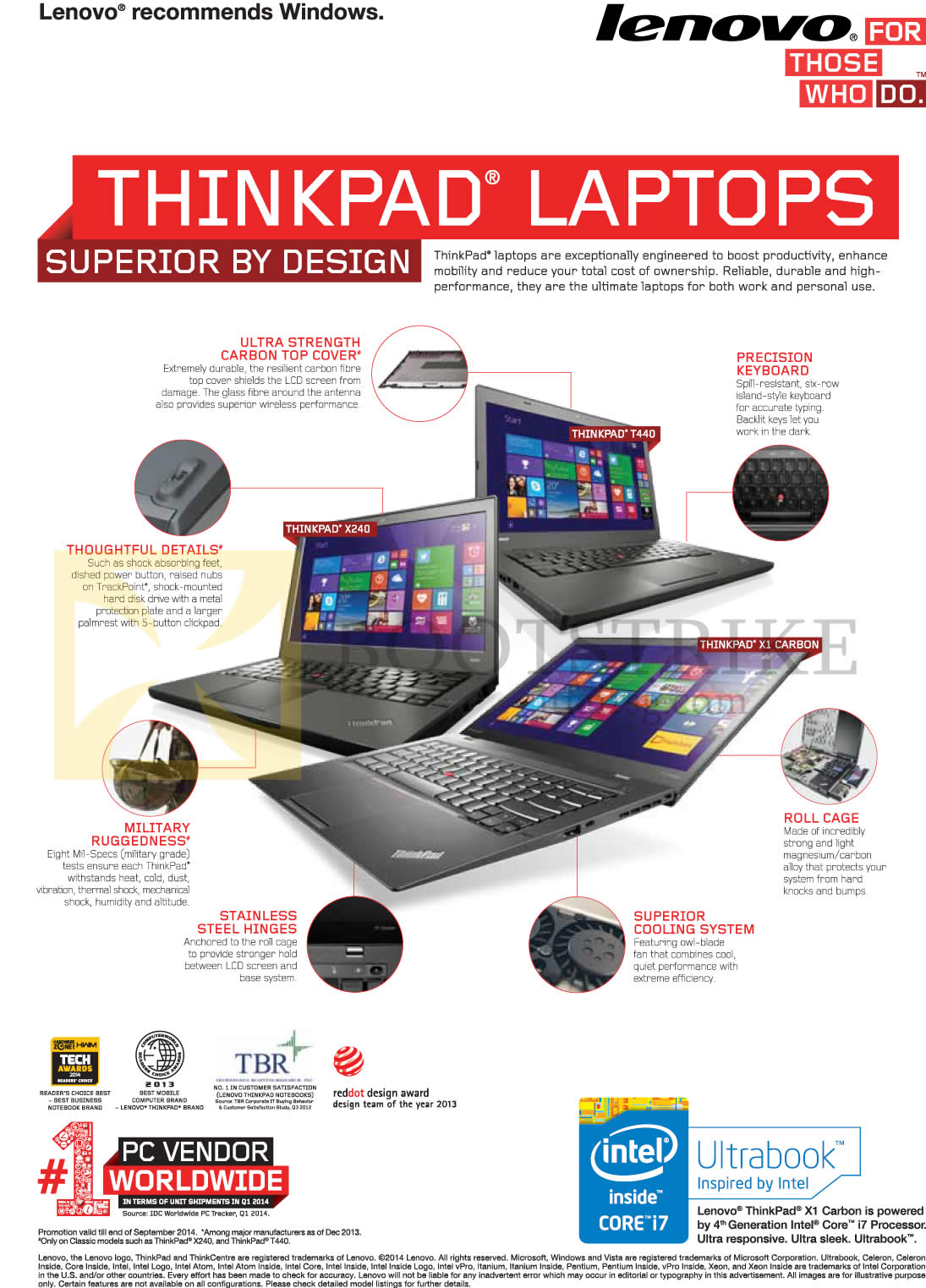 COMEX 2014 price list image brochure of Lenovo Thinkpad Notebooks Features