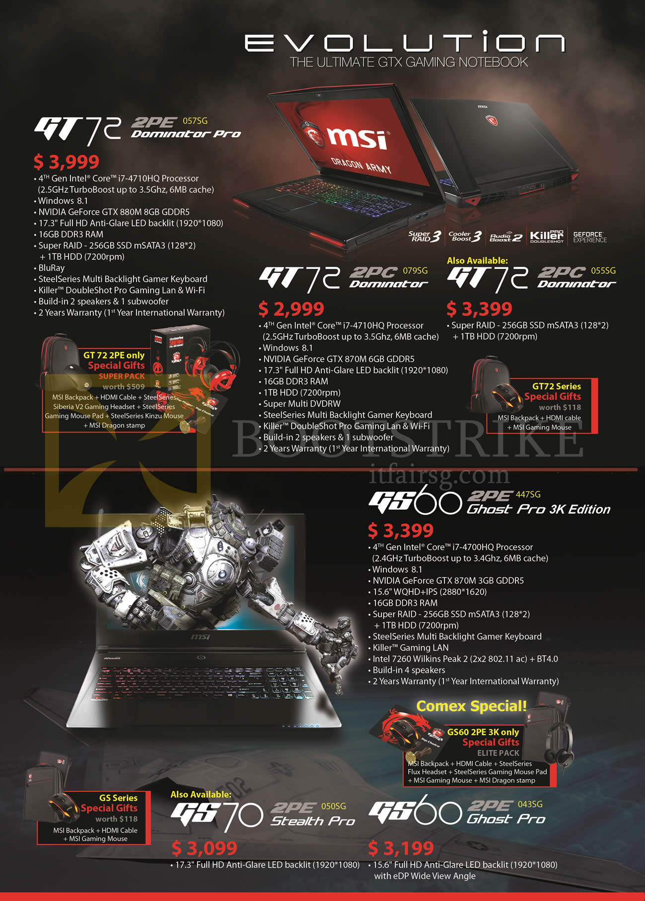 COMEX 2014 price list image brochure of MSI Notebooks GT72 2PE, GT72 2PC, GS60 2PE, GS70 2PE