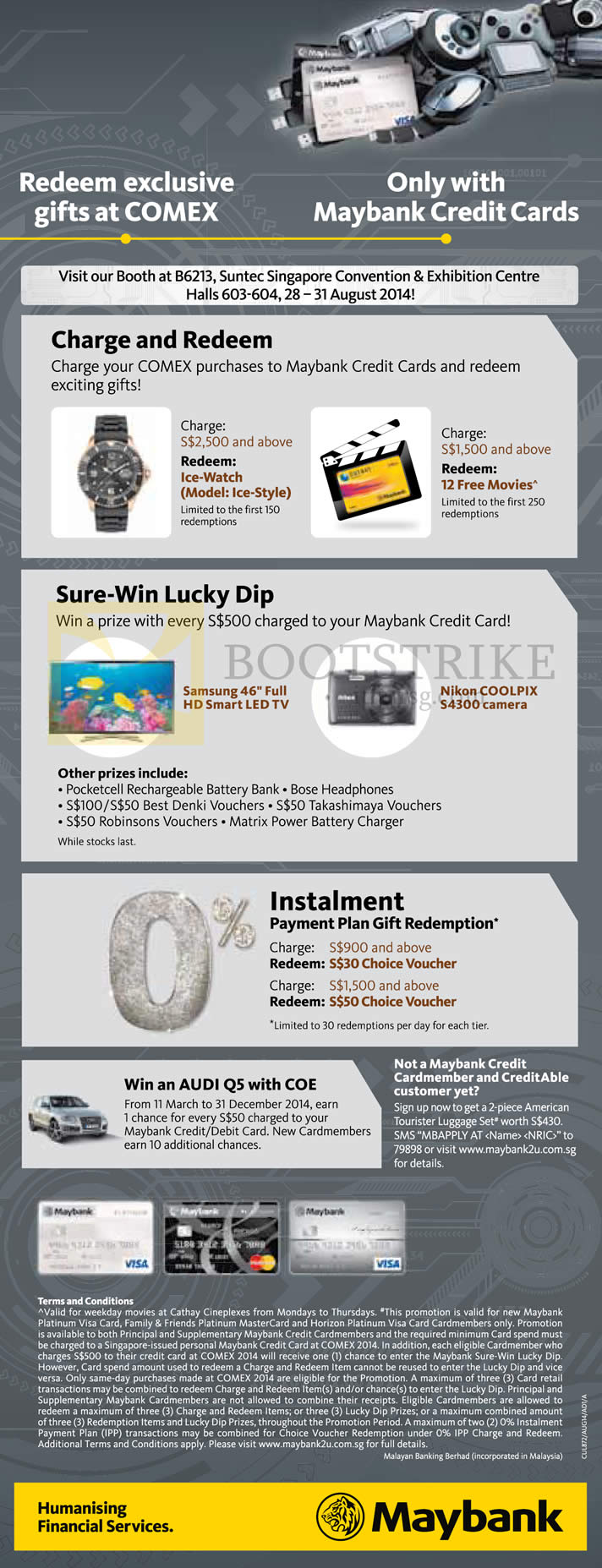 COMEX 2014 price list image brochure of Maybank Charge N Redeem, Sure-Win Lucky Dip, Instalment Payment Plan Gift Redemption