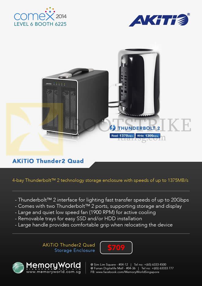 COMEX 2014 price list image brochure of Memory World Akitio Thunder2 Quad Storage Enclosure