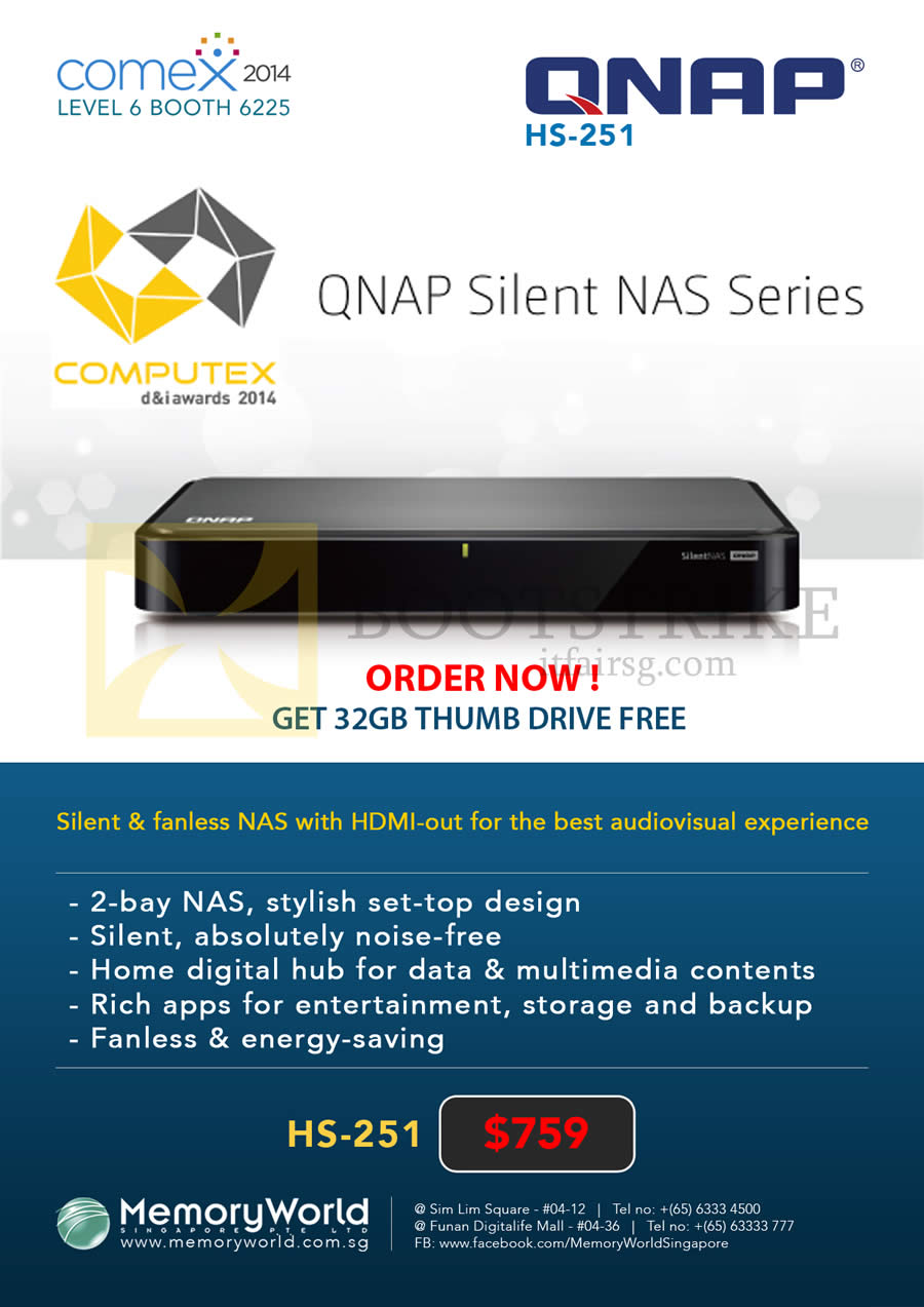 COMEX 2014 price list image brochure of Memory World Qnap NAS HS-251