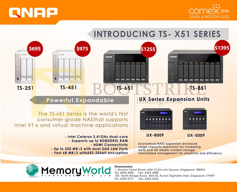 COMEX 2014 price list image brochure of Memory World Qnap NAS TS-251 TS-451 TS-651 TS-851