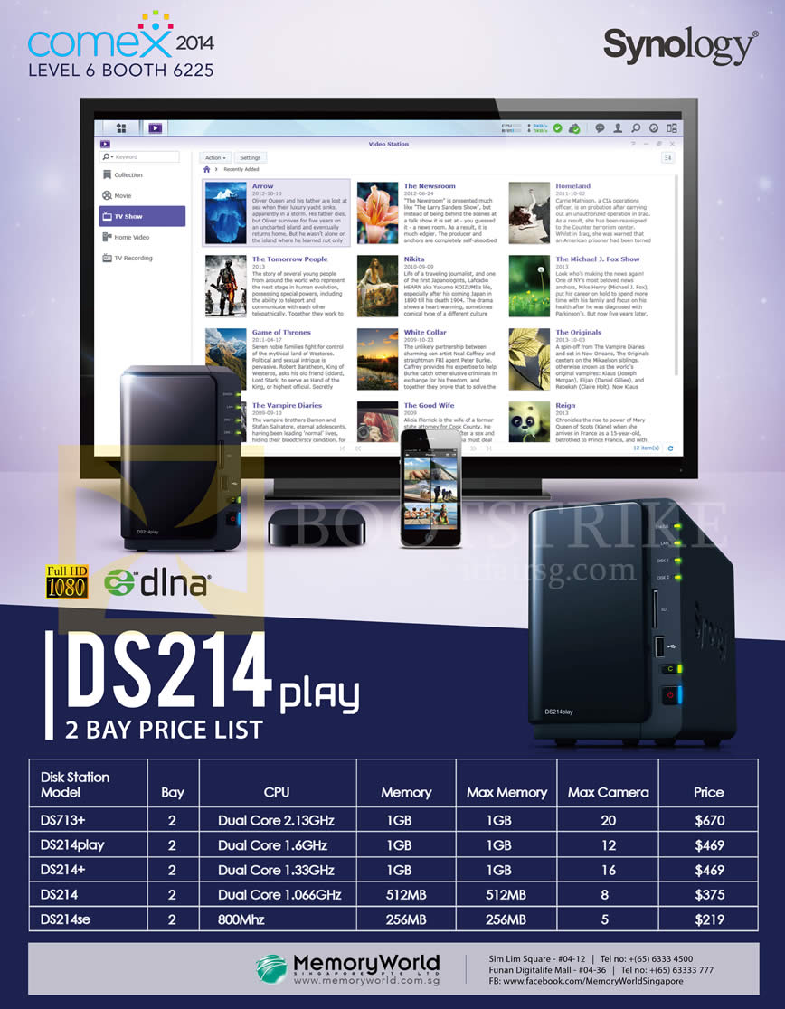 COMEX 2014 price list image brochure of Memory World Synology NAS DiskStation DS214 2 Bay