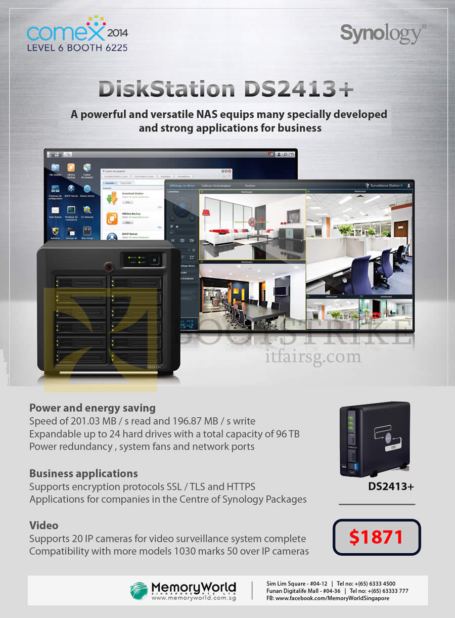 COMEX 2014 price list image brochure of Memory World Synology NAS DiskStation DS2413 Plus