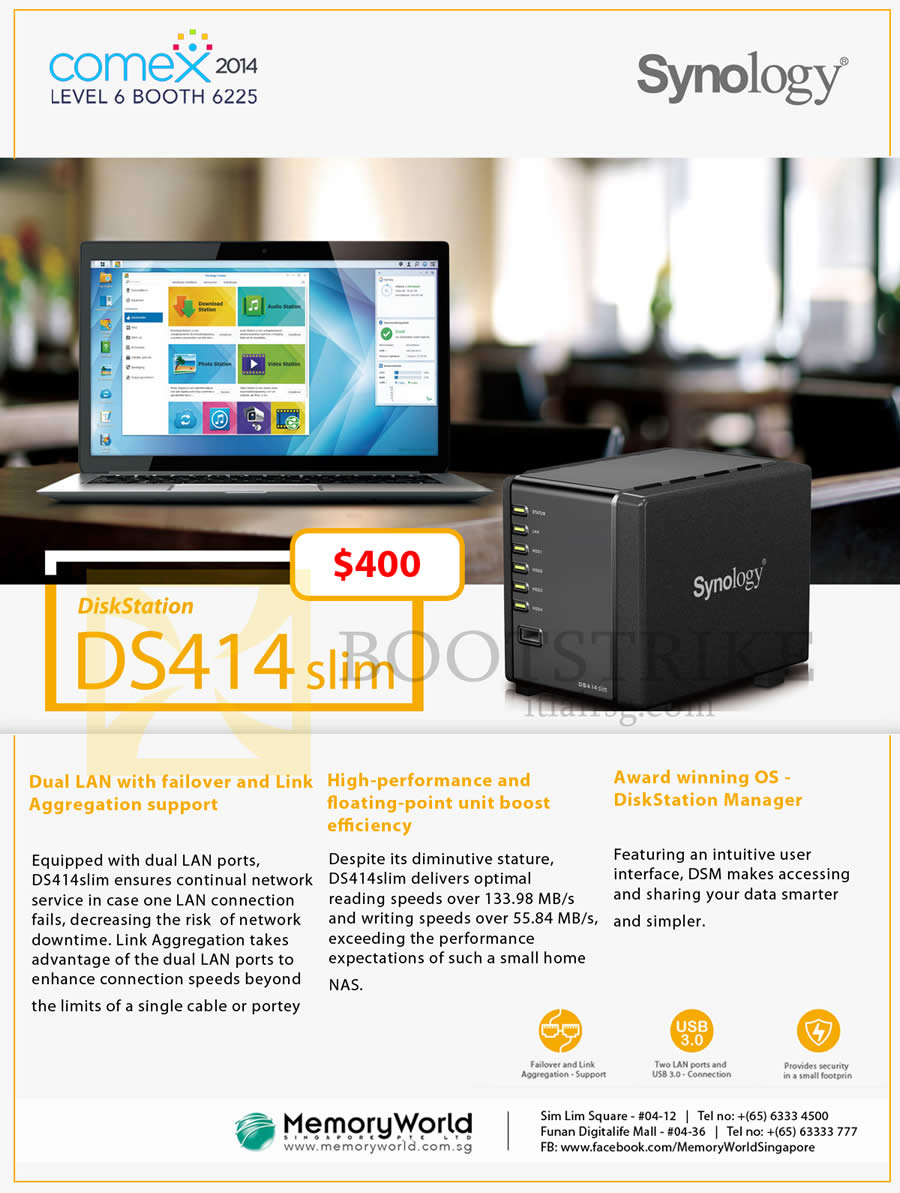 COMEX 2014 price list image brochure of Memory World Synology NAS DiskStation DS414 Slim