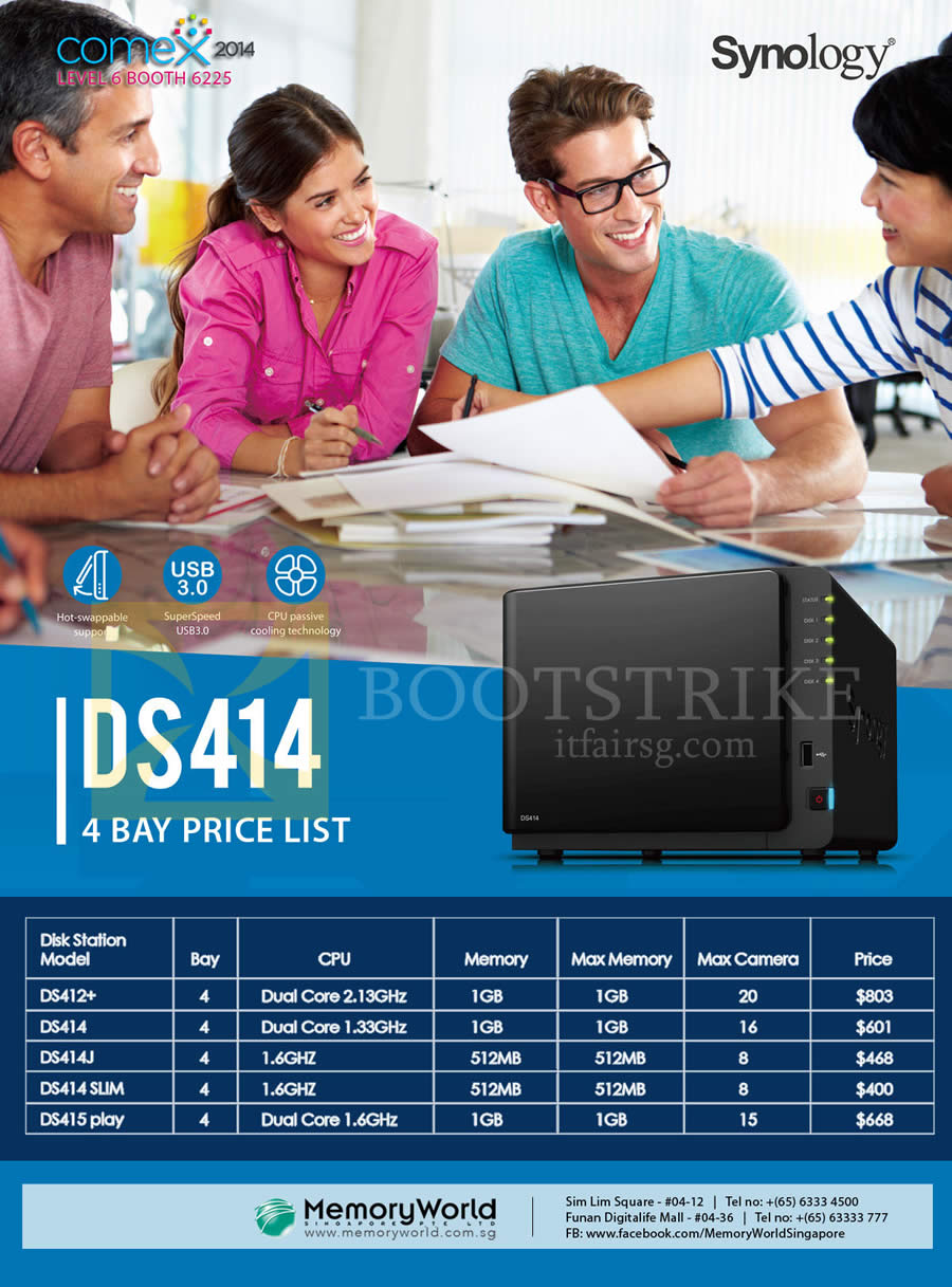 COMEX 2014 price list image brochure of Memory World Synology NAS DiskStation DS414