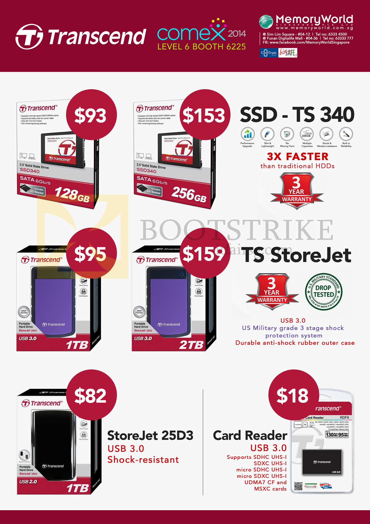 COMEX 2014 price list image brochure of Memory World Transcend SSD TS 340, External Storage TS StoreJet 1TB 2TB, 25D3, Card Reader