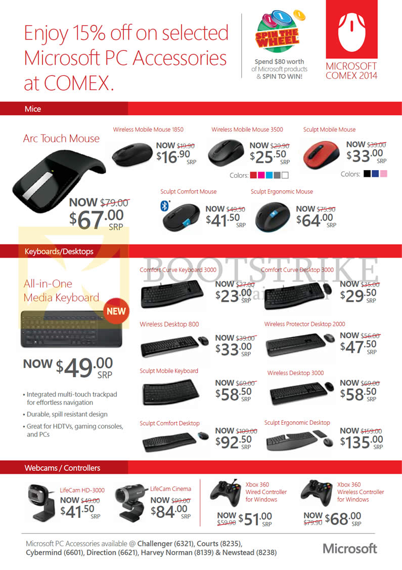 COMEX 2014 price list image brochure of Microsoft Mouse, Keyboards, Webcams, Xbox 360 Controller, Arc Touch, Wireless Mobile, Sculpt Mobile, Comfort Arc Touch Wireless Ergonomic, Curve, LifeCam