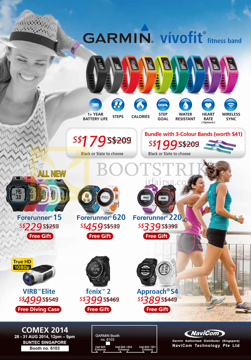 COMEX 2014 price list image brochure of Navicom Garmin Vivofit Fitness Band, Forerunner 15 620 220, Virb Elite, Fenix 2, Approach S4