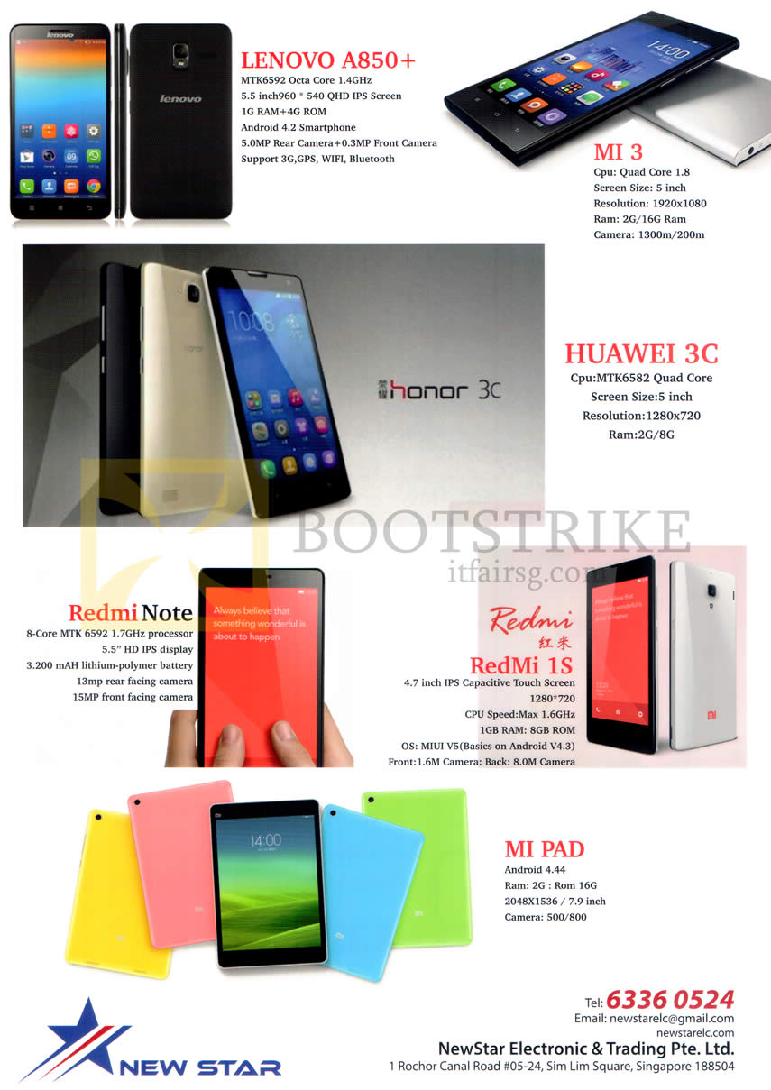 COMEX 2014 price list image brochure of NewStar (No Prices) Lenovo A850 Plus, Xiaomi Mi3, Huawei 3C, Redmi Note, Redmi 1S, MI Pad