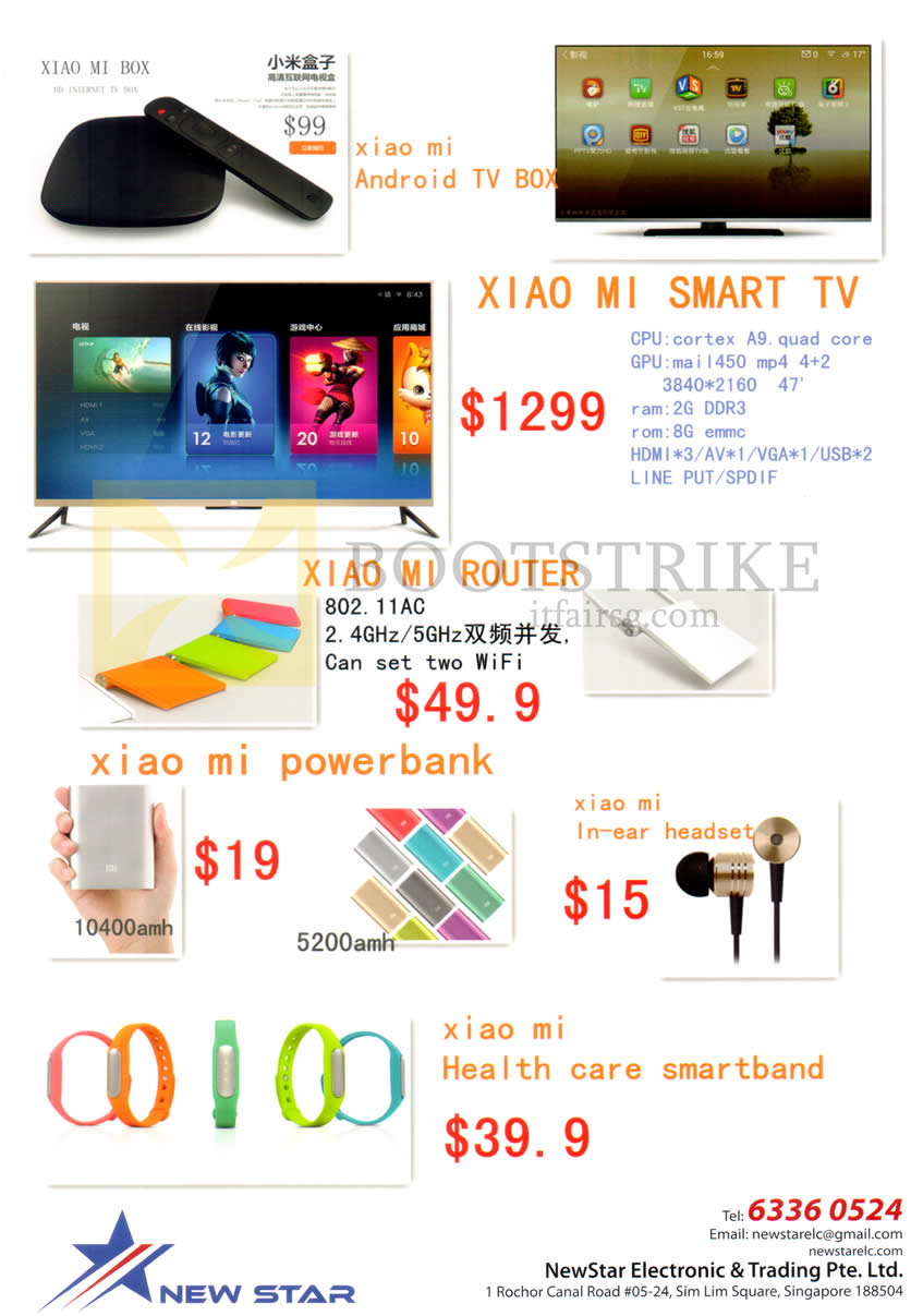 COMEX 2014 price list image brochure of NewStar Xiaomi Mi Android TV Box, Smart TV, Router, Power Bank, Earphones, Health Care Smartband